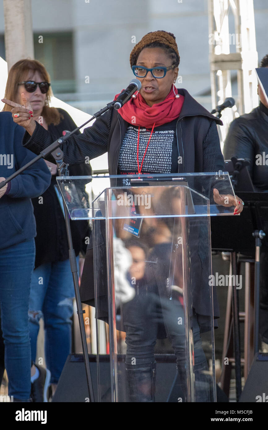 Los Angeles Women's March  Featuring: Kimberle Williams Crenshaw Where: Los Angeles, California, United States - Stock Image
