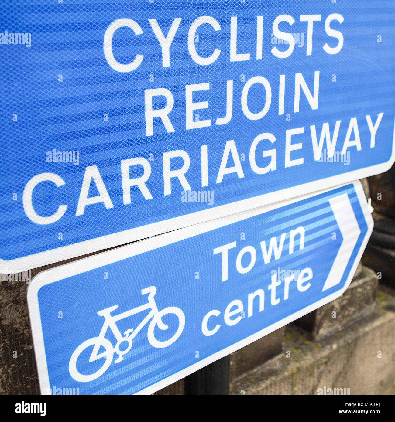 Compulsory traffic signs relating to cycling. - Stock Image
