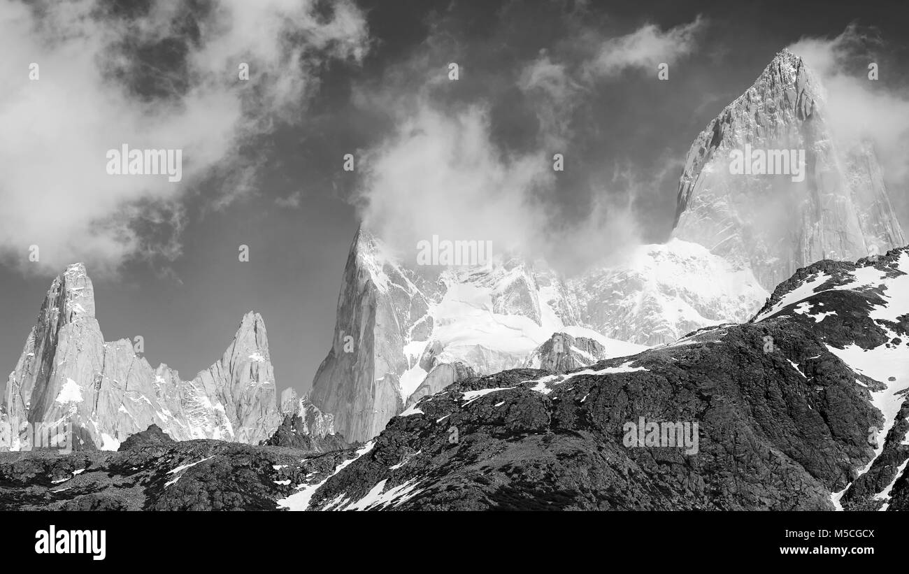 Black and white Fitz Roy Mountain Range panorama, Argentina. - Stock Image