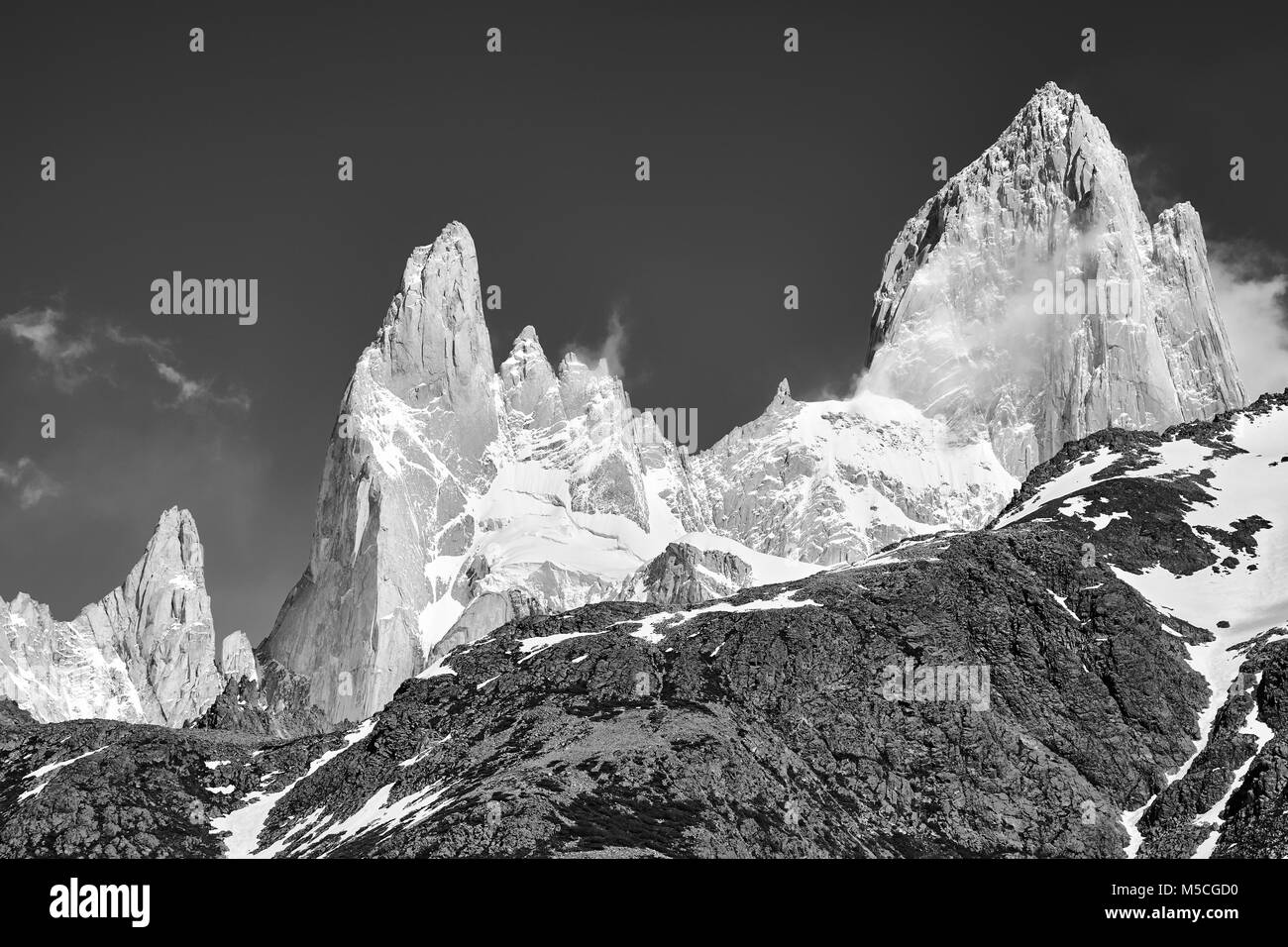 Black and white picture of the Fitz Roy Mountain Range, Los Glaciares National Park, Argentina. - Stock Image