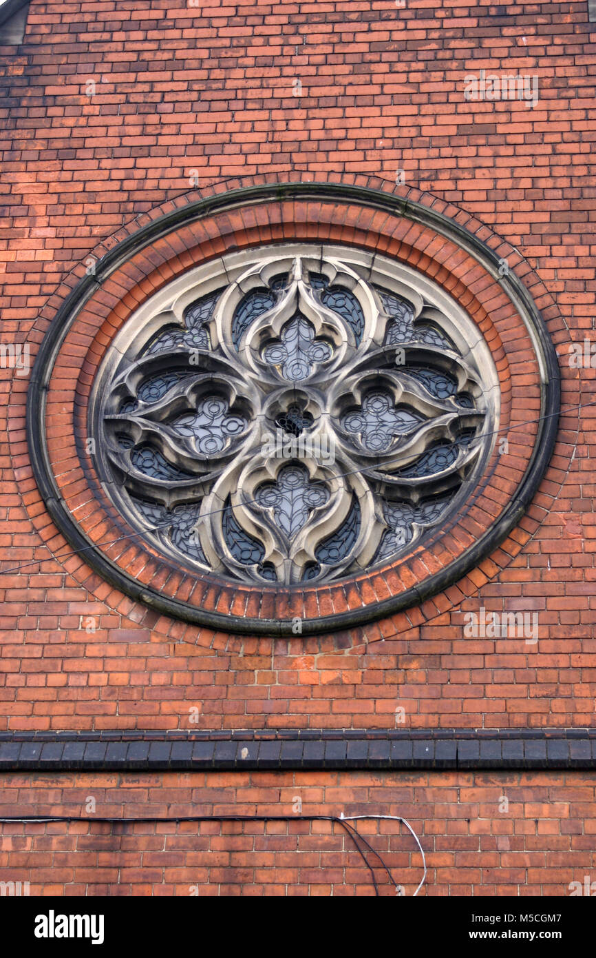 St Gregory R.C. school-chapel, decretive window Lockwood street, Scott  street, kingston upon Hull Stock Photo