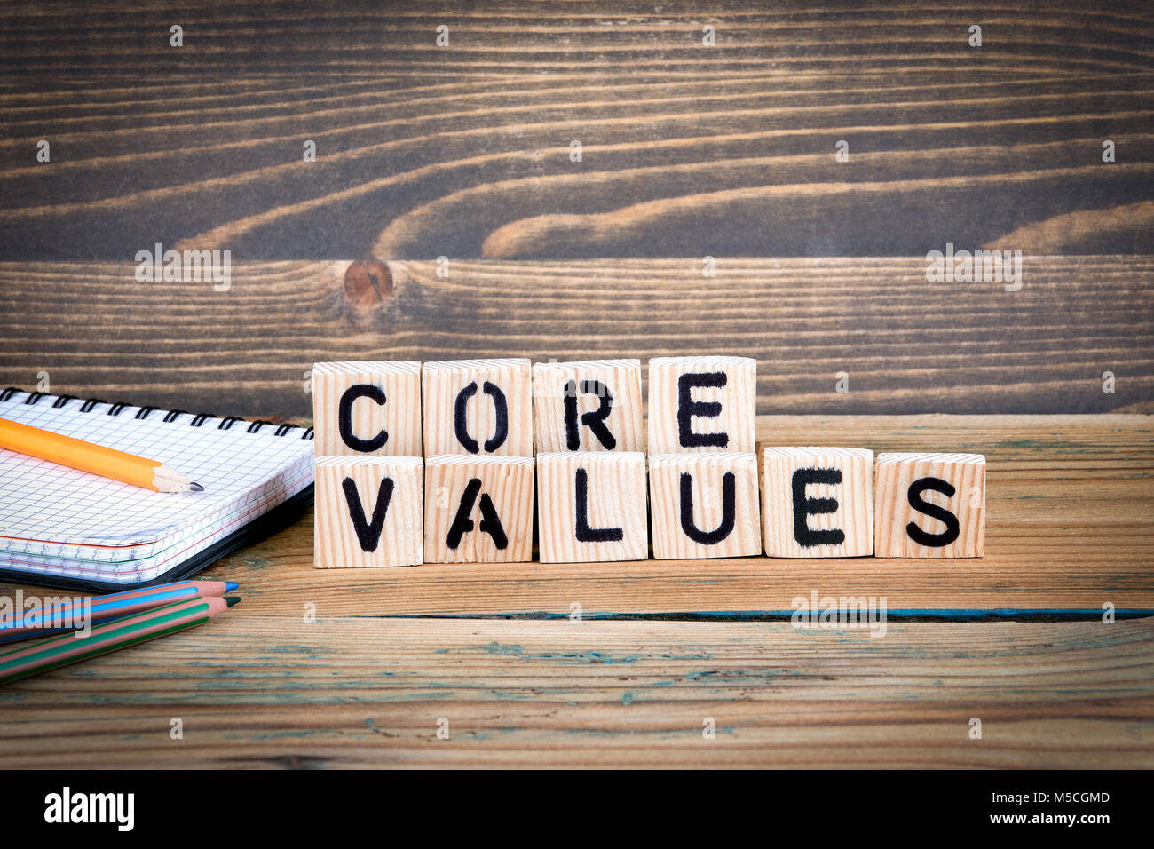 core values. Wooden letters on the office desk, informative and communication background - Stock Image