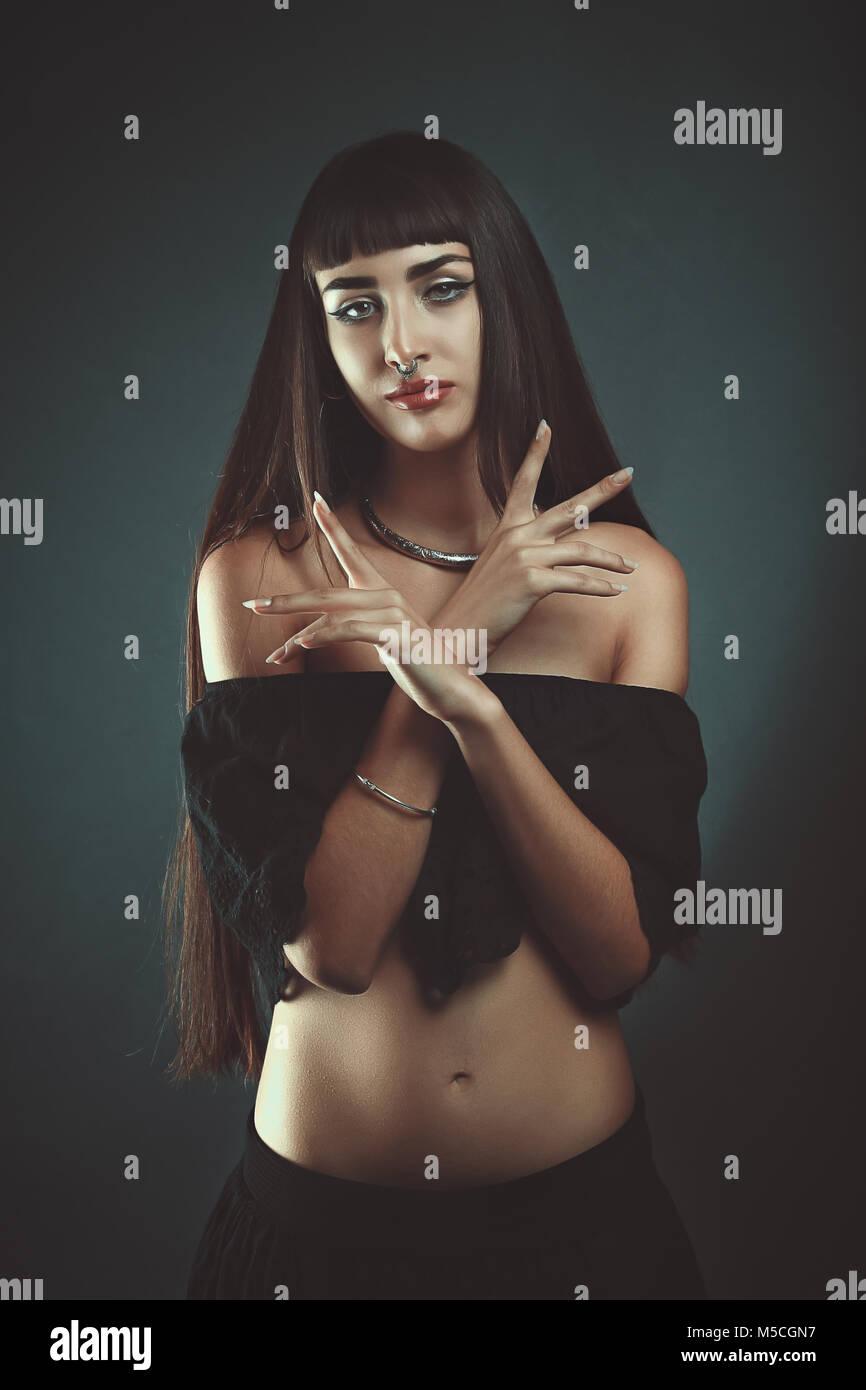 Dark gypsy witch. Studio portrait - Stock Image