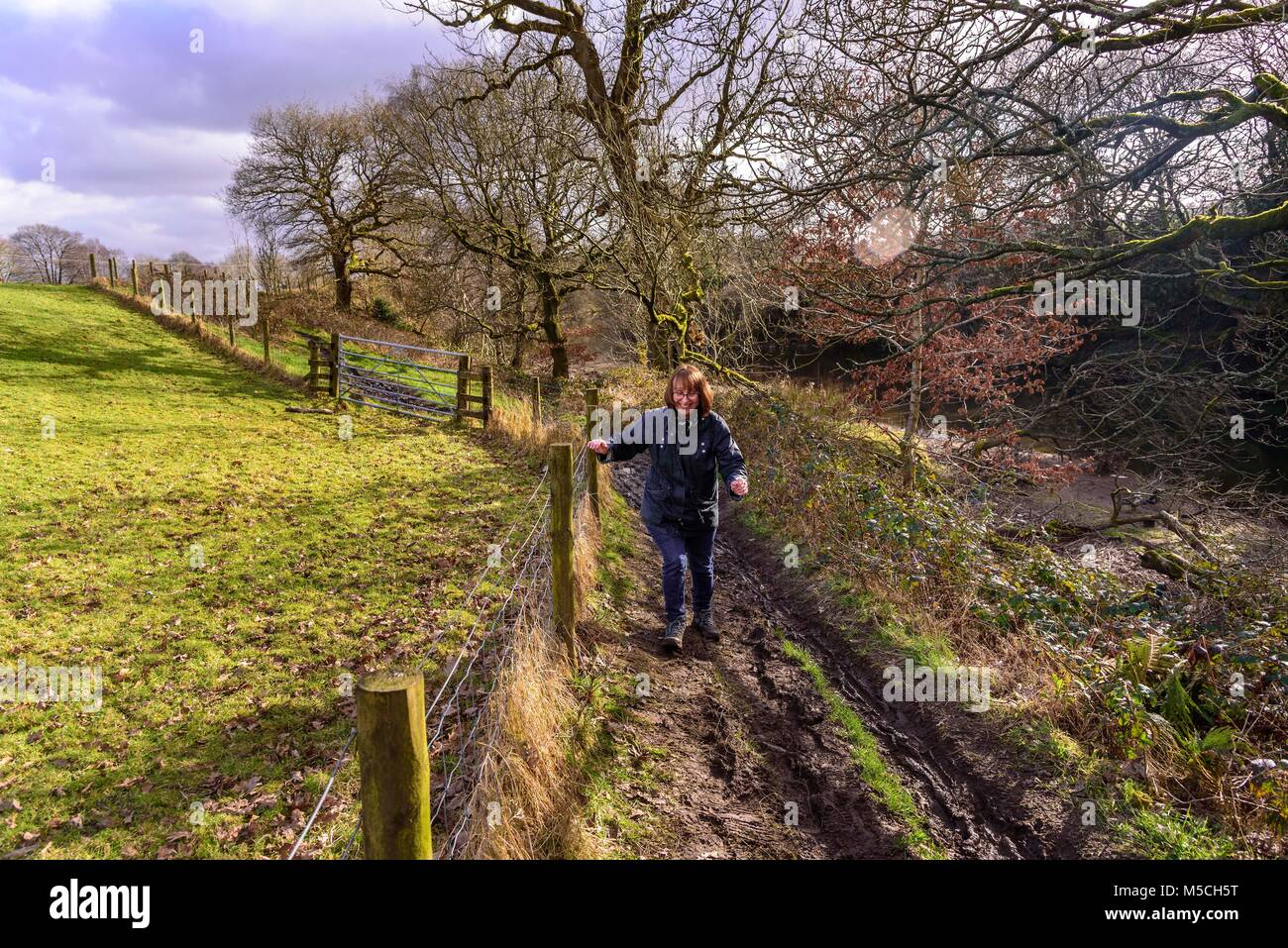 A woman walks a muddy country path - Stock Image