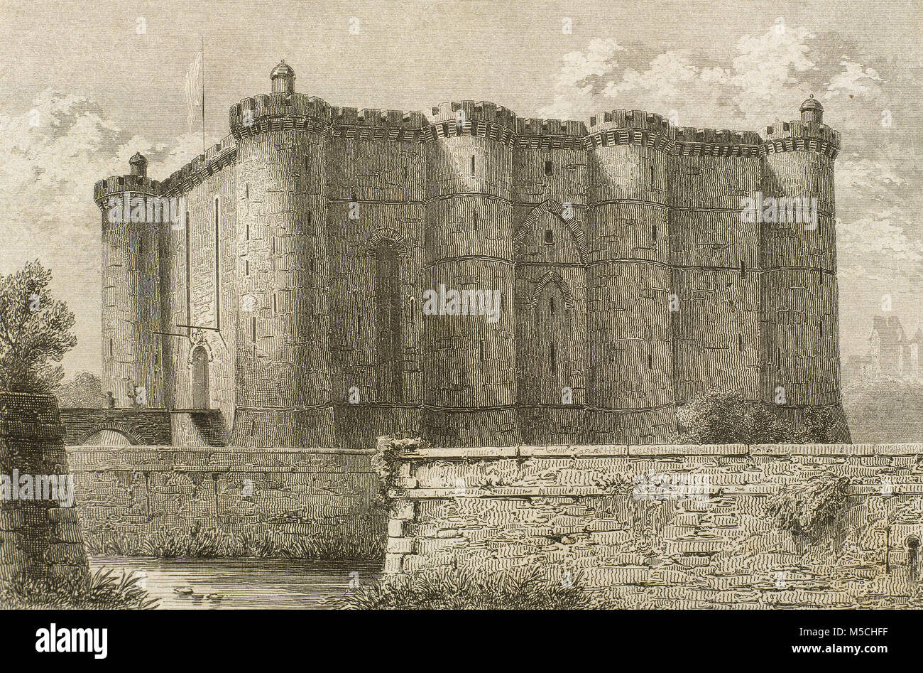 Bastille. Medieval fortress built by order of Charles V between 1370 and 1380, to defend the eastern approach to - Stock Image