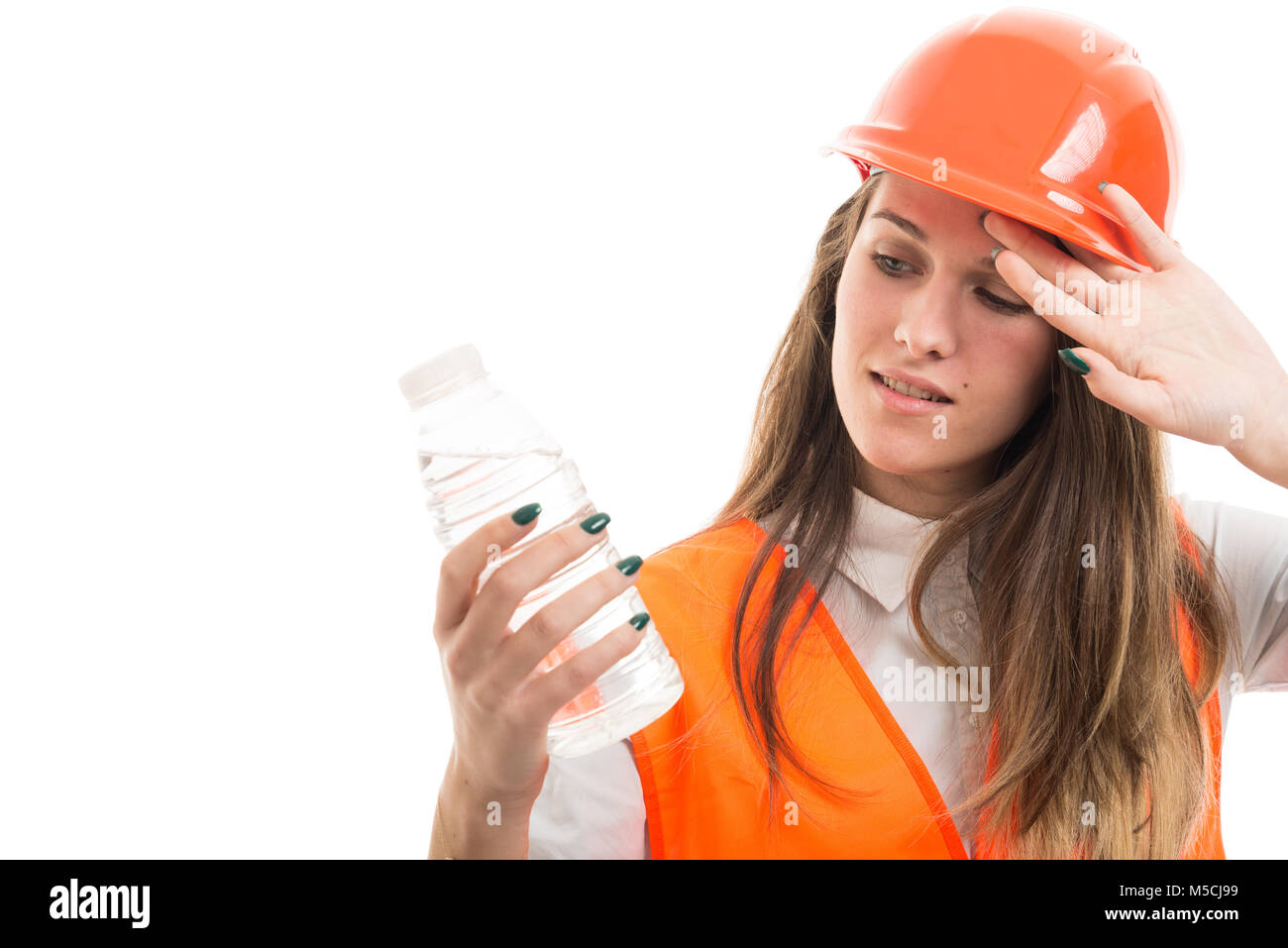 Girl Builder Or Architect Looking Tired Or Thirsty And Drinking Water
