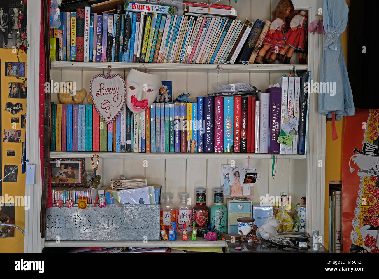 A book shelf in a girls bedroom. - Stock Image