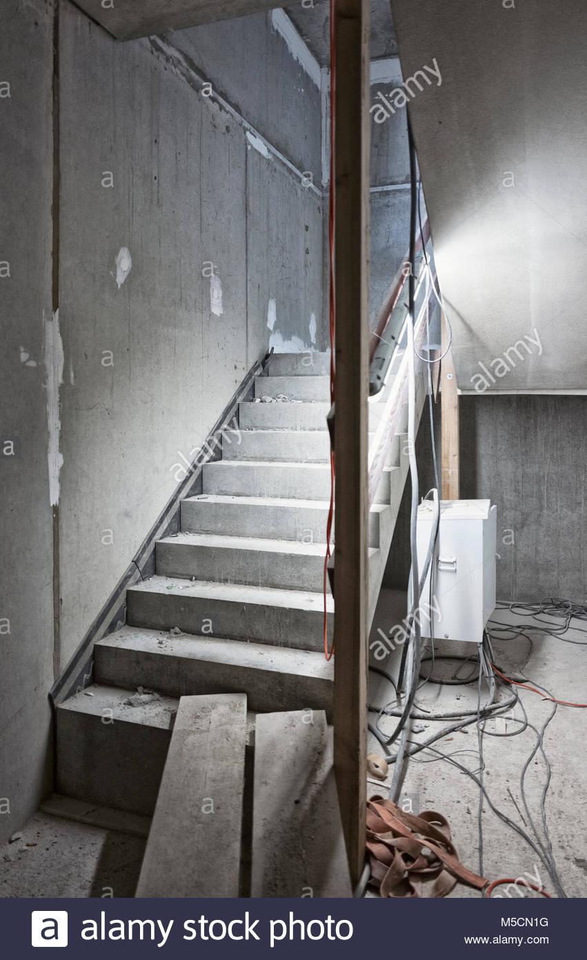New staircase building construction site concrete Stock Photo