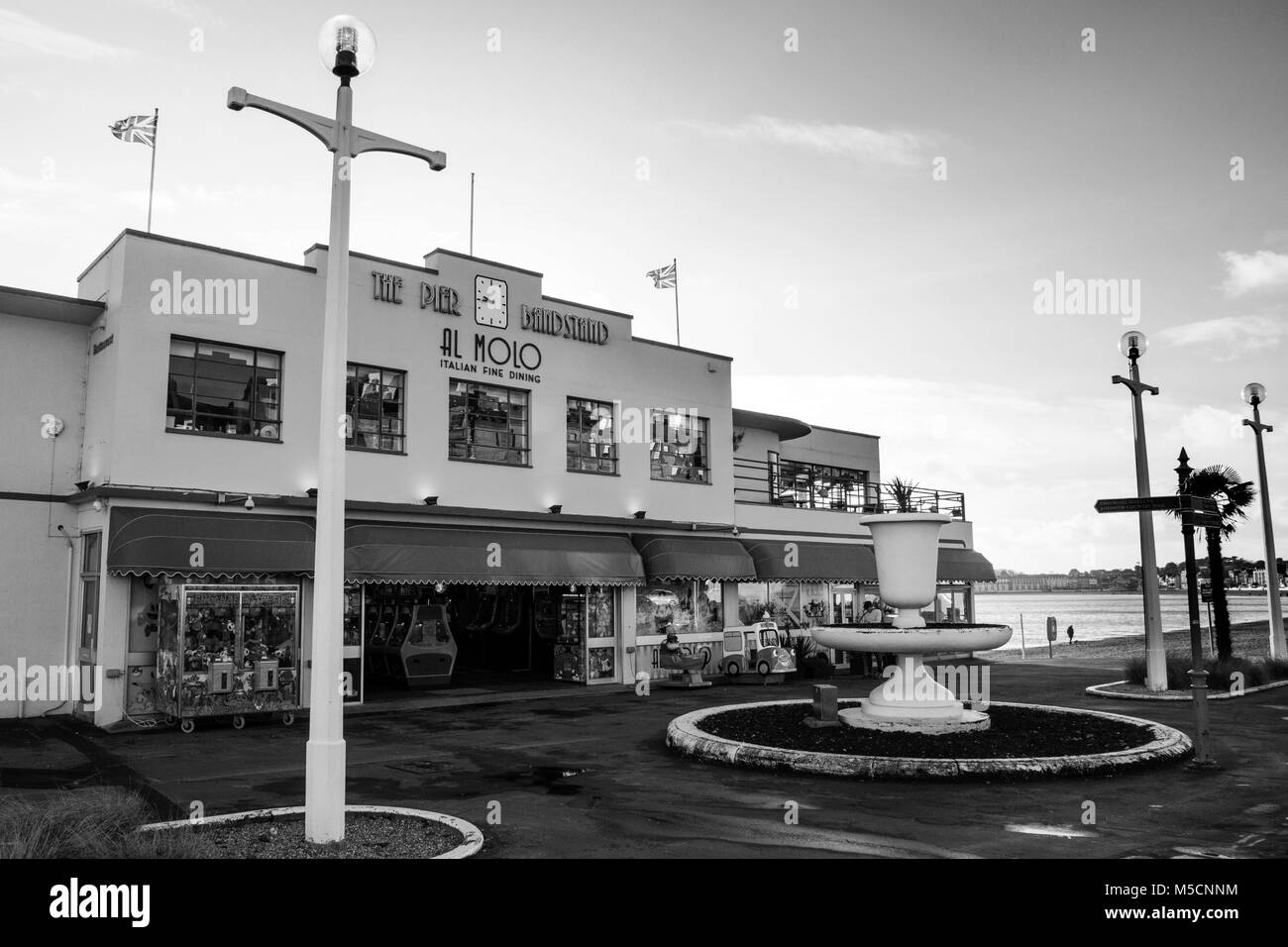 WEYMOUTH, UNITED KINGDOM - DECEMBER 26, 2017 - Front view of the 1920s Art Deco style arcade along the Esplanade, - Stock Image