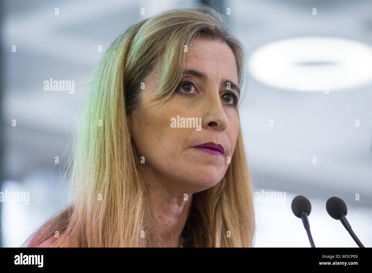 London, UK. 19th February, 2018. Sandra Khadhouri, Head of Communications, speaks at the launch of the Renew Political - Stock Image