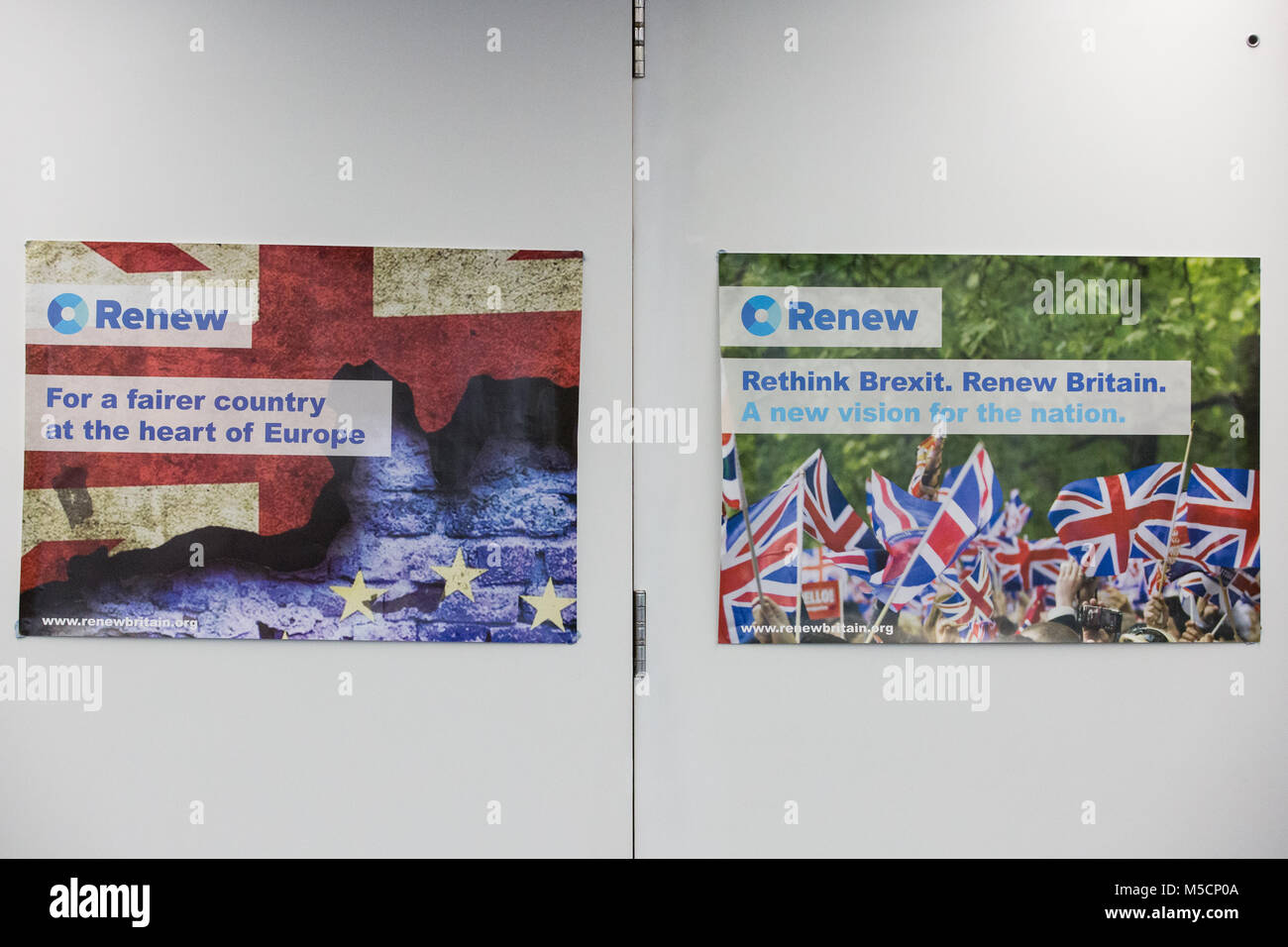 London, UK. 19th February, 2018. Marketing materials at the launch of the Renew Political Party in Westminster. - Stock Image