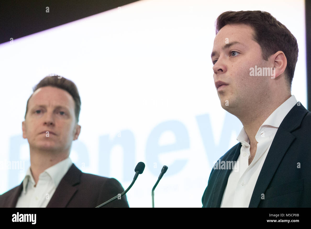 London, UK. 19th February, 2018. James Torrance, Head of Strategy, speaks at the launch of the Renew Political Party - Stock Image
