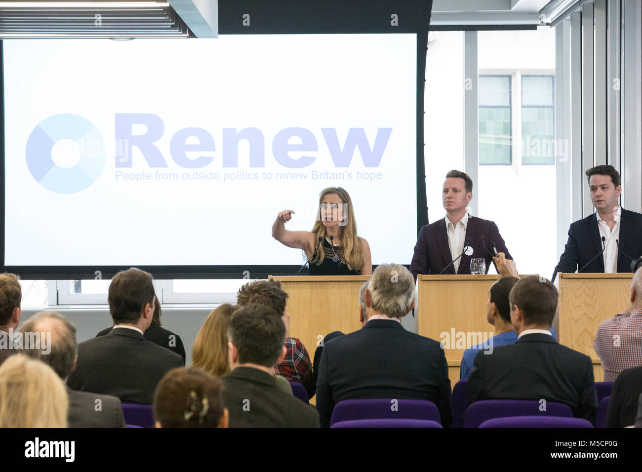 London, UK. 19th February, 2018. Sandra Khadhouri, Head of Communications, takes questions at the launch of the - Stock Image