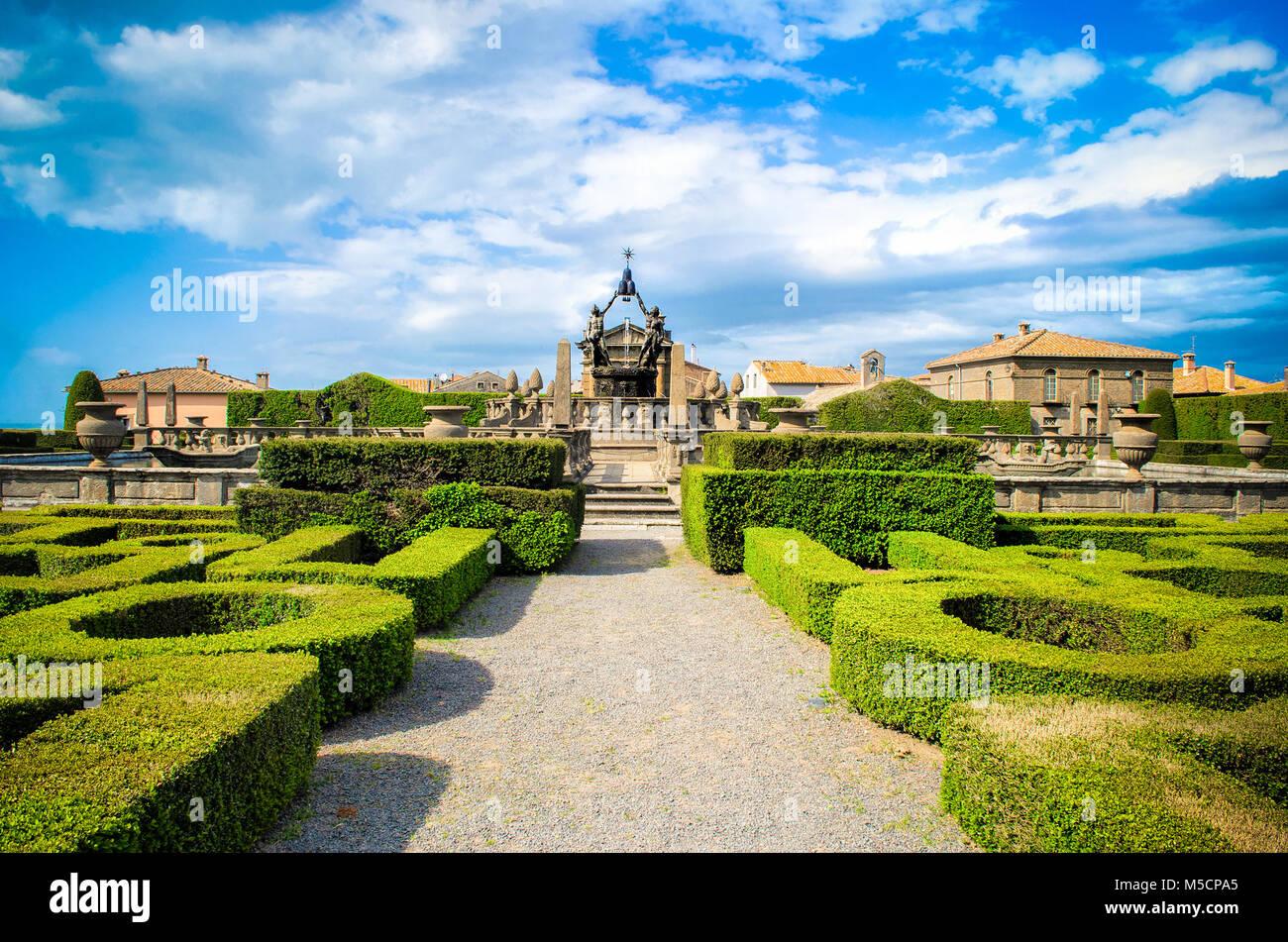 Viterbo symmetrical garden Bagnaia - Villa Lante in - Italy parterre italian hedge bush design - Stock Image