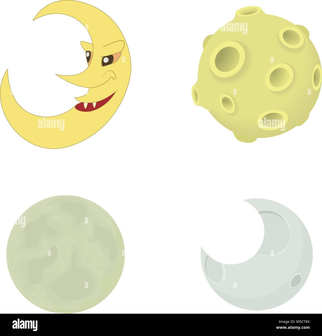 Moon icon set, cartoon style - Stock Image