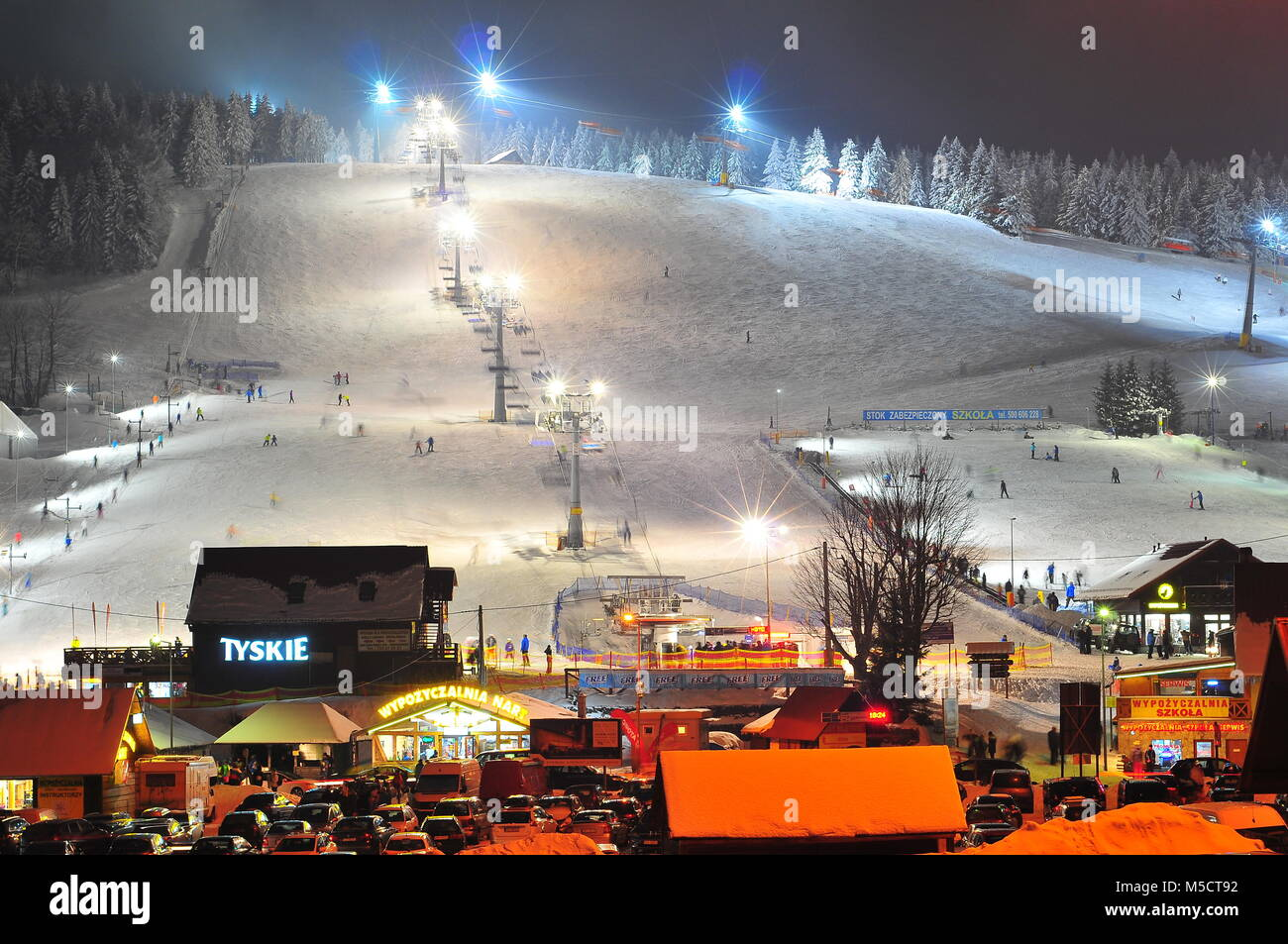 Zieleniec, the largest ski resort in Klodzko Valley (one of the largest in the Sudetenland), Orlicke Mountains, Stock Photo