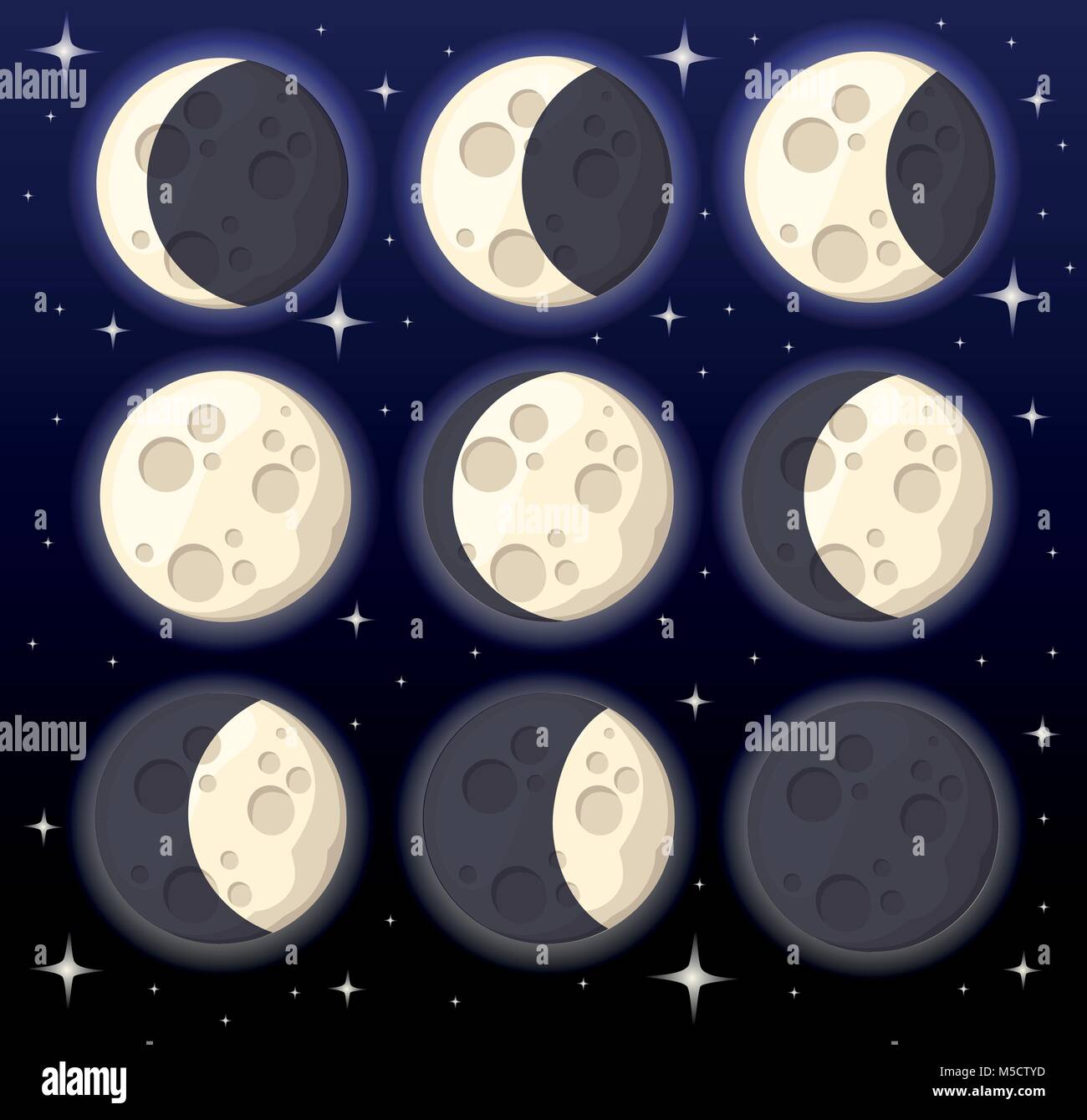 Set of different moon phases space object natural satellite of the earth vector illustration isolated on night background - Stock Vector
