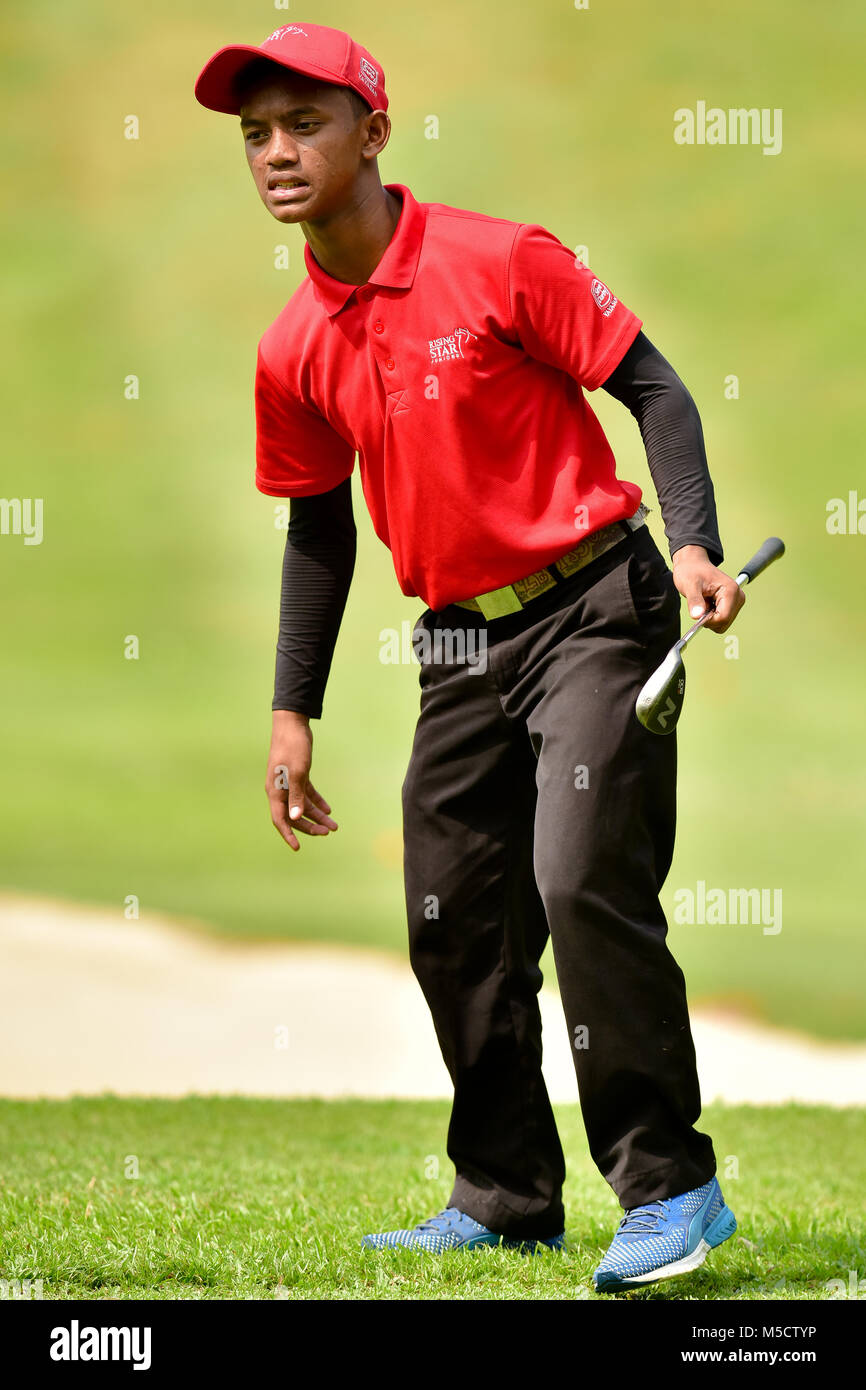 Danau, UKM Bangi - FEBRUARY 10: Watiq Fiqhrie reacts  on the 9th green during Round One of the Danau Junior Championship - Stock Image