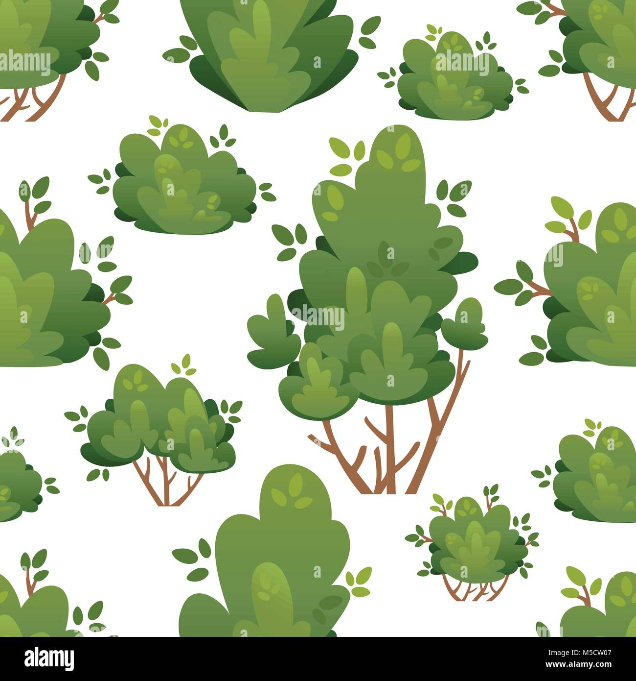 Seamless pattern of natural bushes and garden trees for park cottage and yard vector illustration with place for - Stock Vector