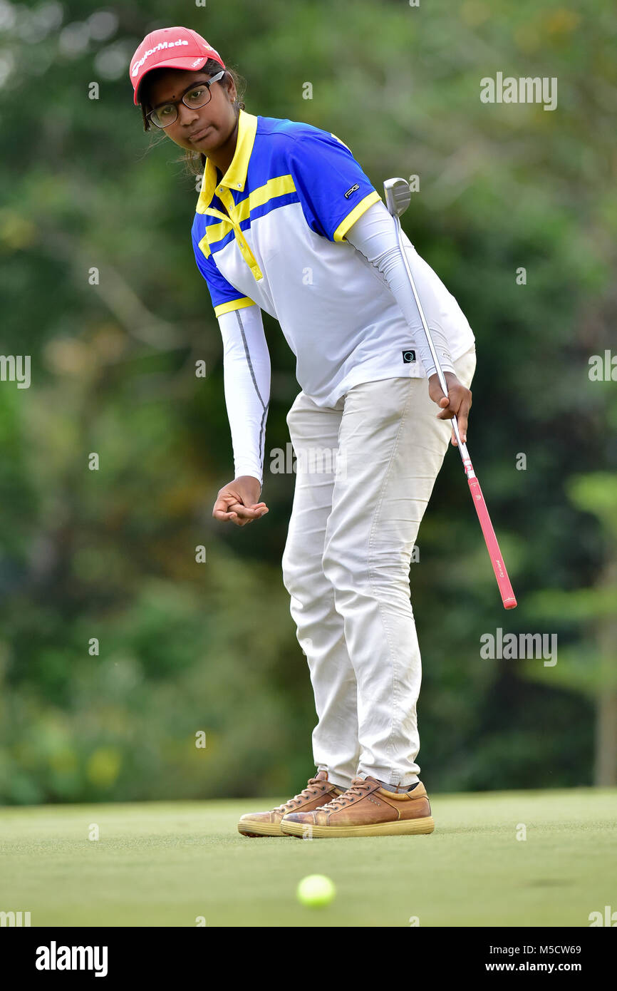 Danau, UKM Bangi - FEBRUARY 10: Aish Anpalagan reacts on the 10th green during Round One of the Danau Junior Championship - Stock Image