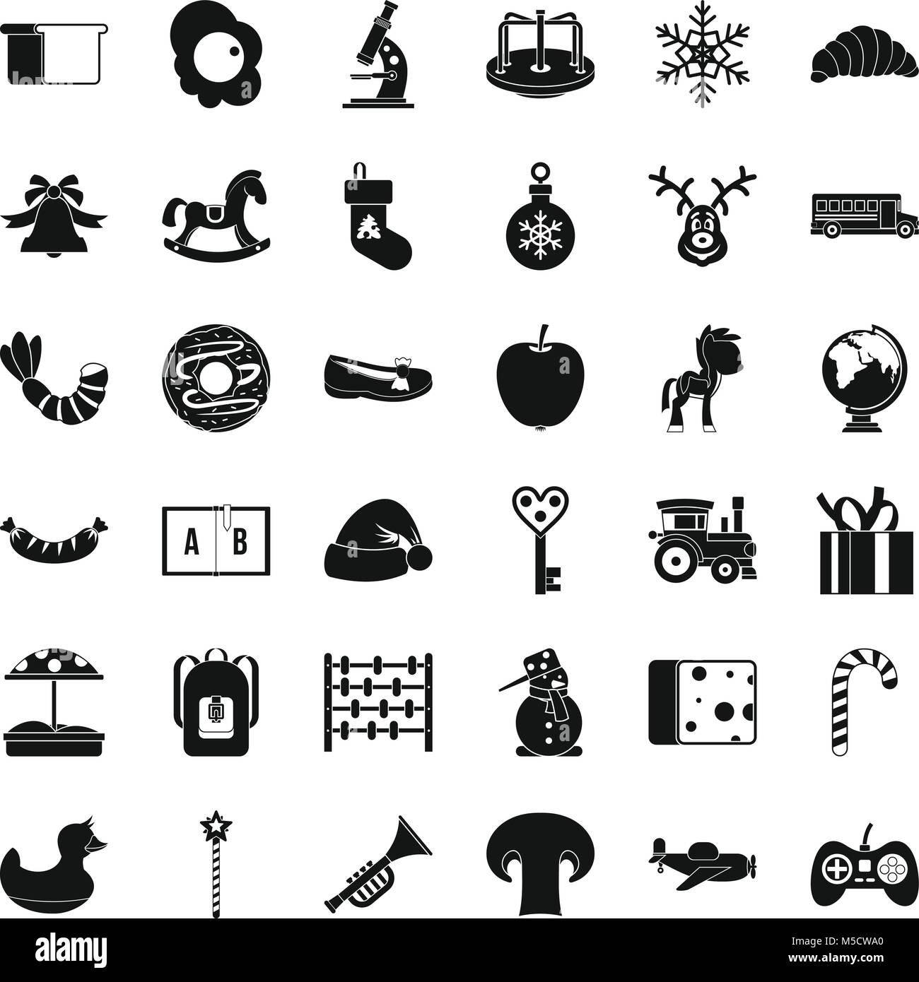Preparatory class icons set, simple style - Stock Image