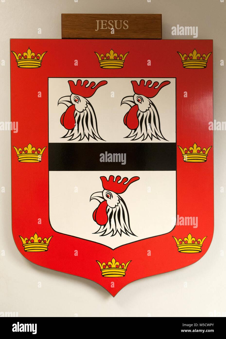 CAMBRIDGE, ENGLAND, UK - DECEMBER 03 2011: Coat of Arms of Jesus College Cambridge - Stock Image