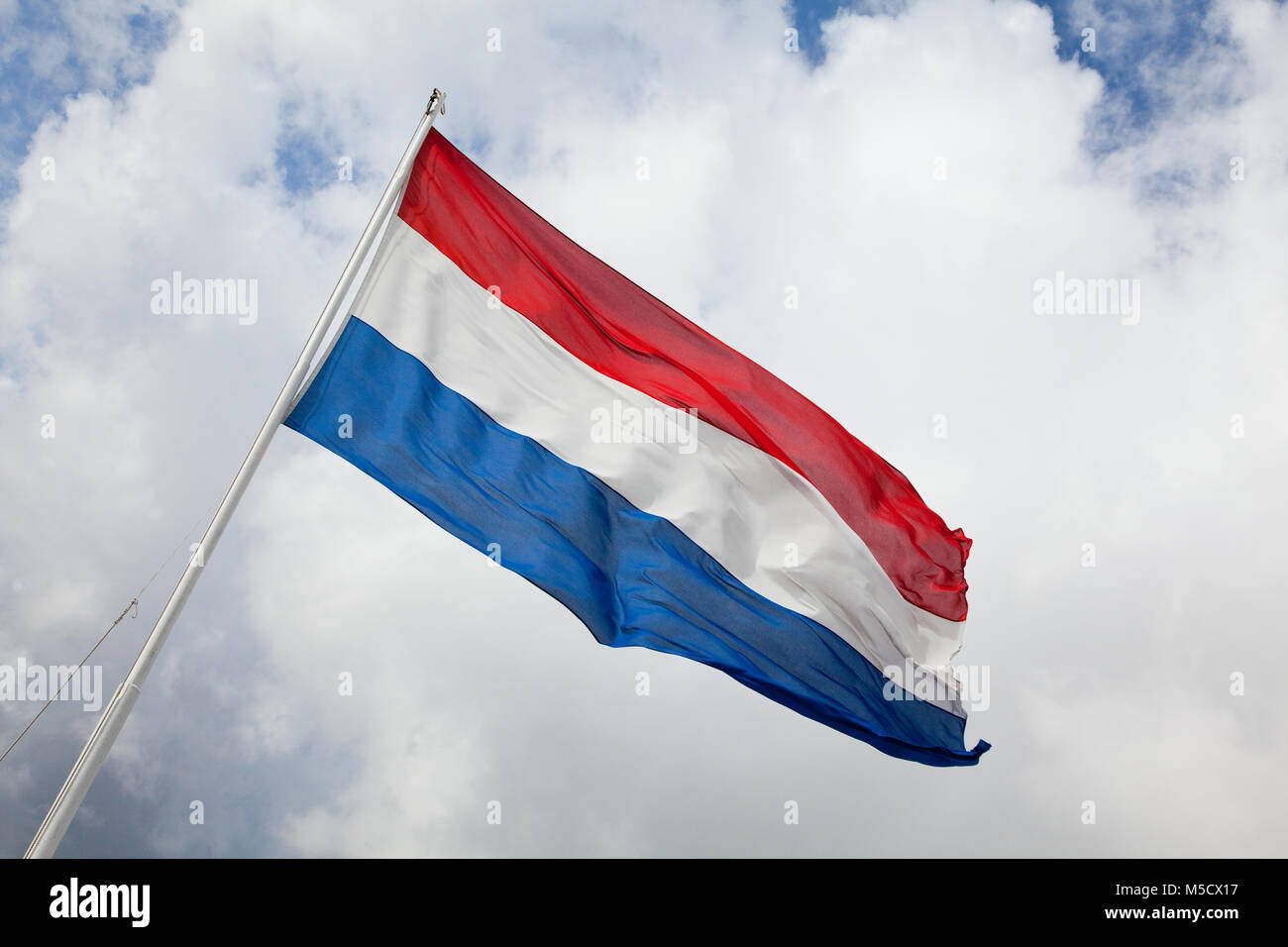 Dutch flag blowing in wind - Stock Image