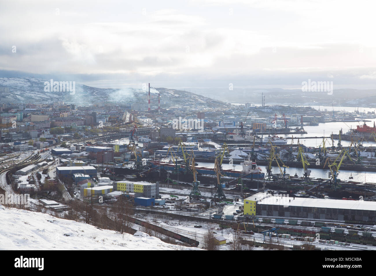 Murmansk, Russia - October 20th, 2017: Murmansk, view on a city and sea moorings with top. - Stock Image