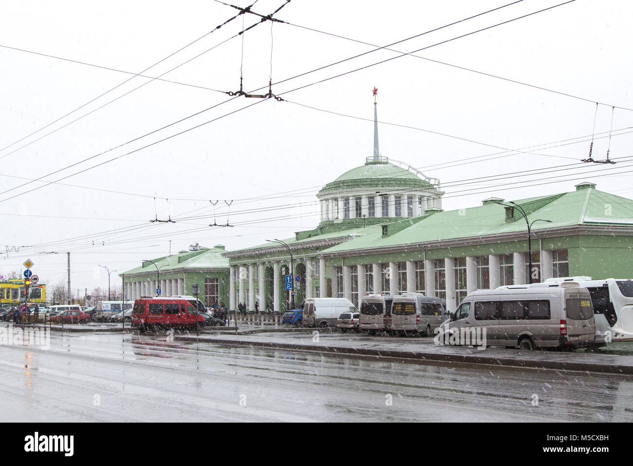 Murmansk, Russia - October 20th, 2017: Murmansk, a facade of railway station and the area near the station in a - Stock Image