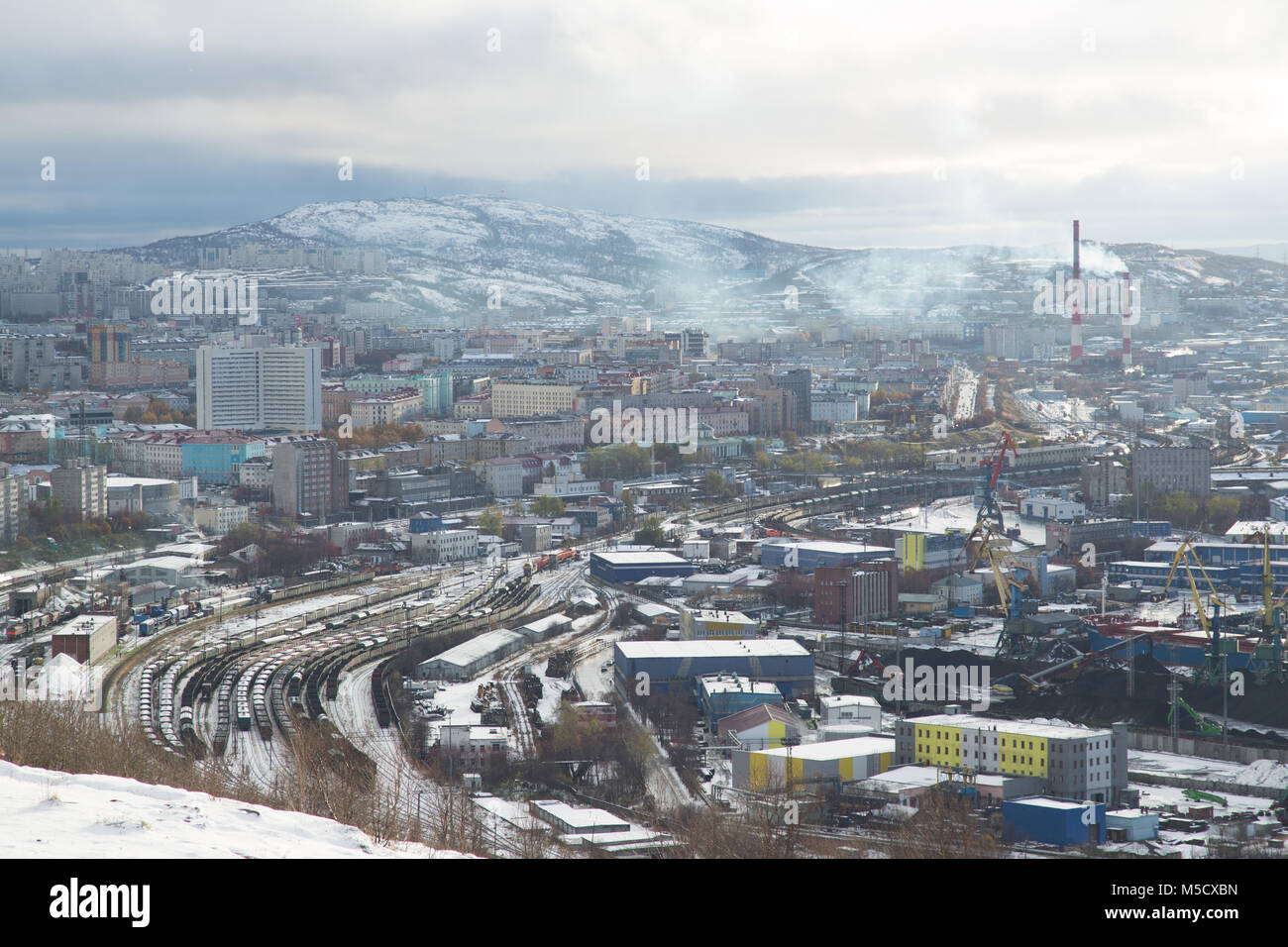 Murmansk, Russia - October 20th, 2017: Murmansk, view on a city with top. - Stock Image