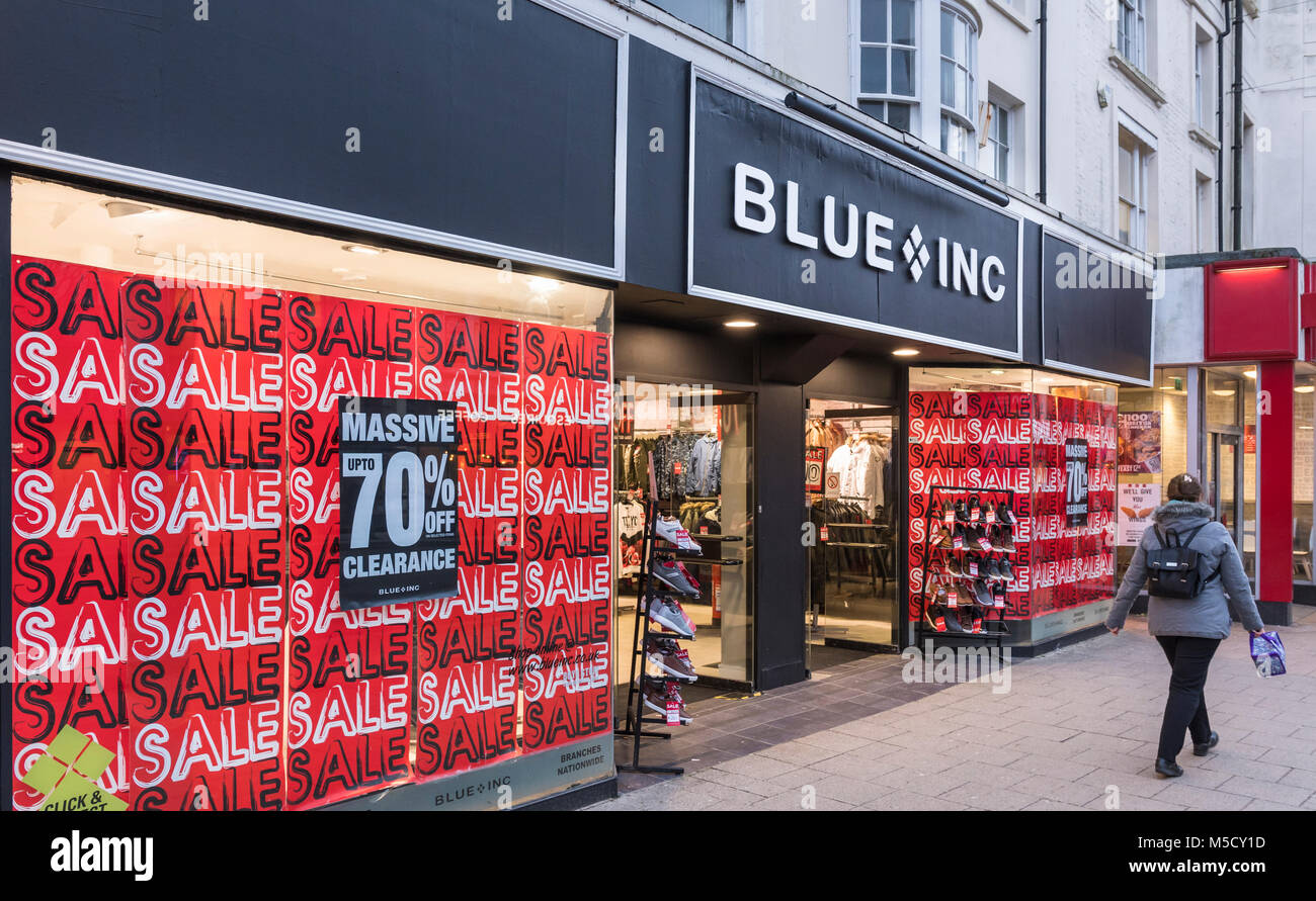 Blue Inc retail store in England, UK. Blue Inc shop. - Stock Image