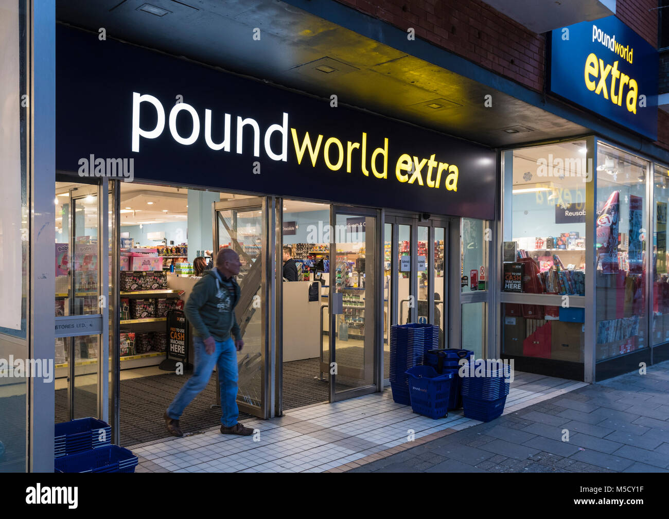 Pound World Extra store in England, UK. Poundworld shop UK. - Stock Image