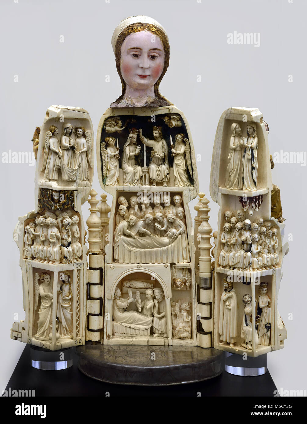 Our lady of the Paradise 14th century,  French School Ivory France - Stock Image