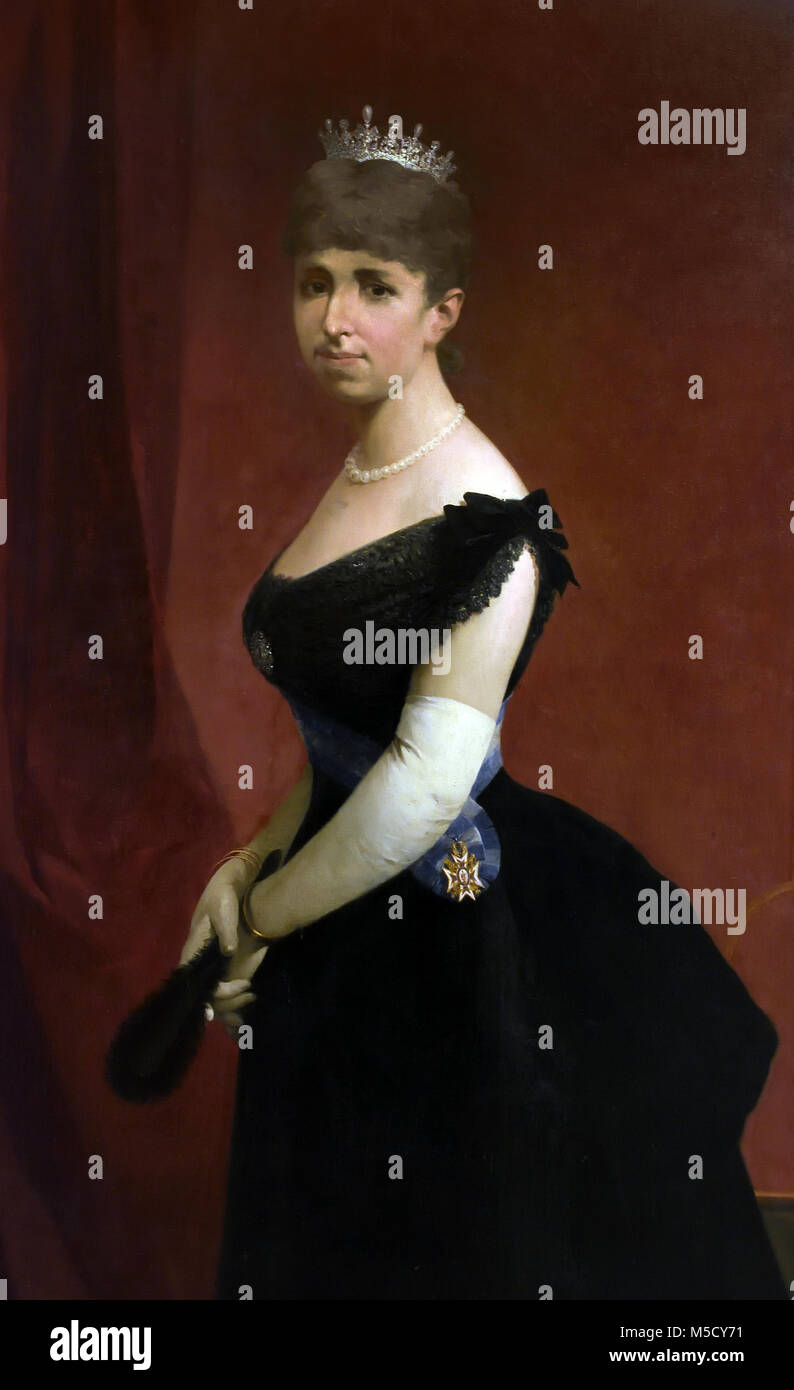 Portrait of Queen Maria Cristina of Habsburg-Lorraine (1858-1929), who was queen consort of Spain for her marriage - Stock Image