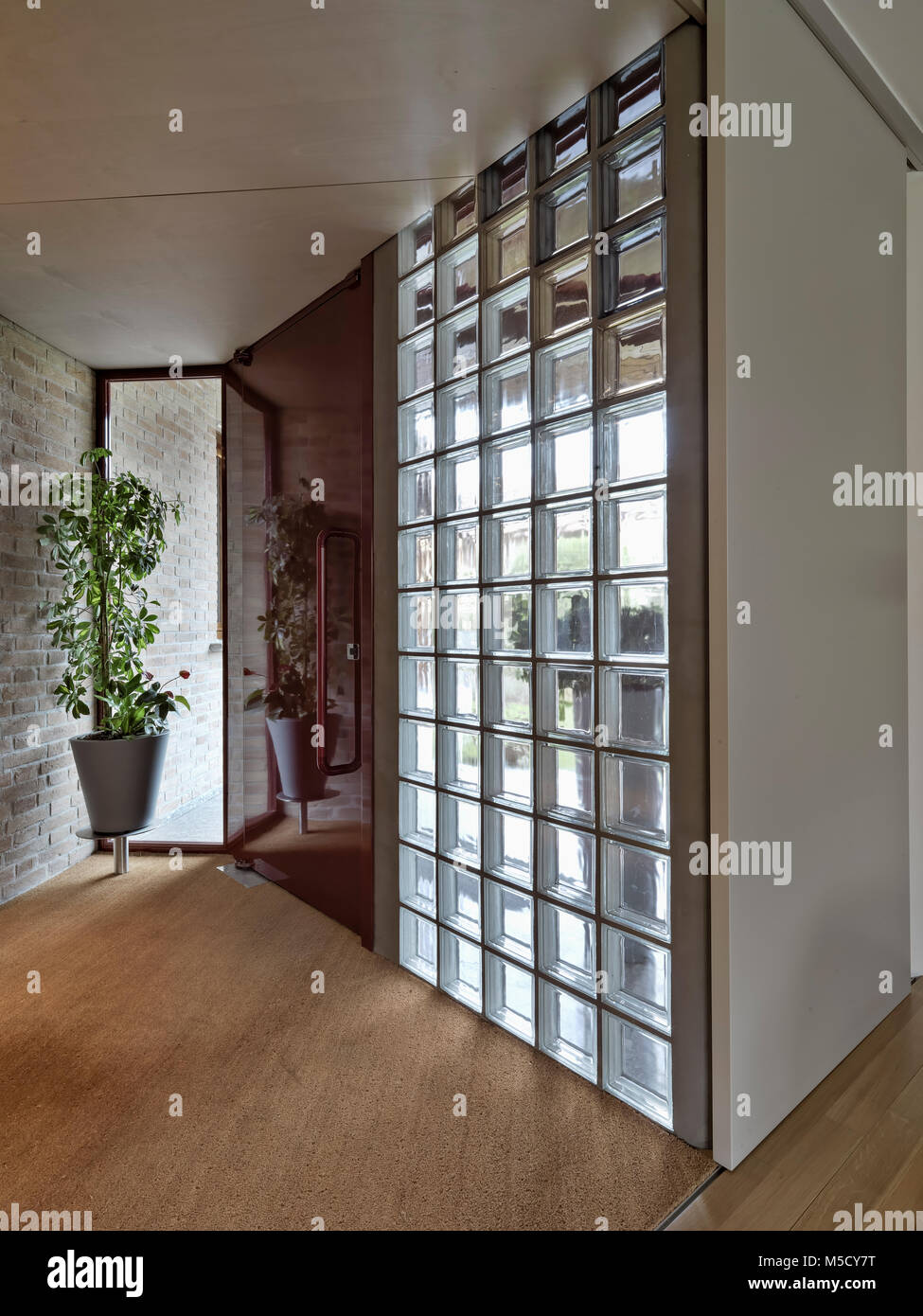 Glass Door Entrance And Glass Block Wall Stock Photos Glass Door