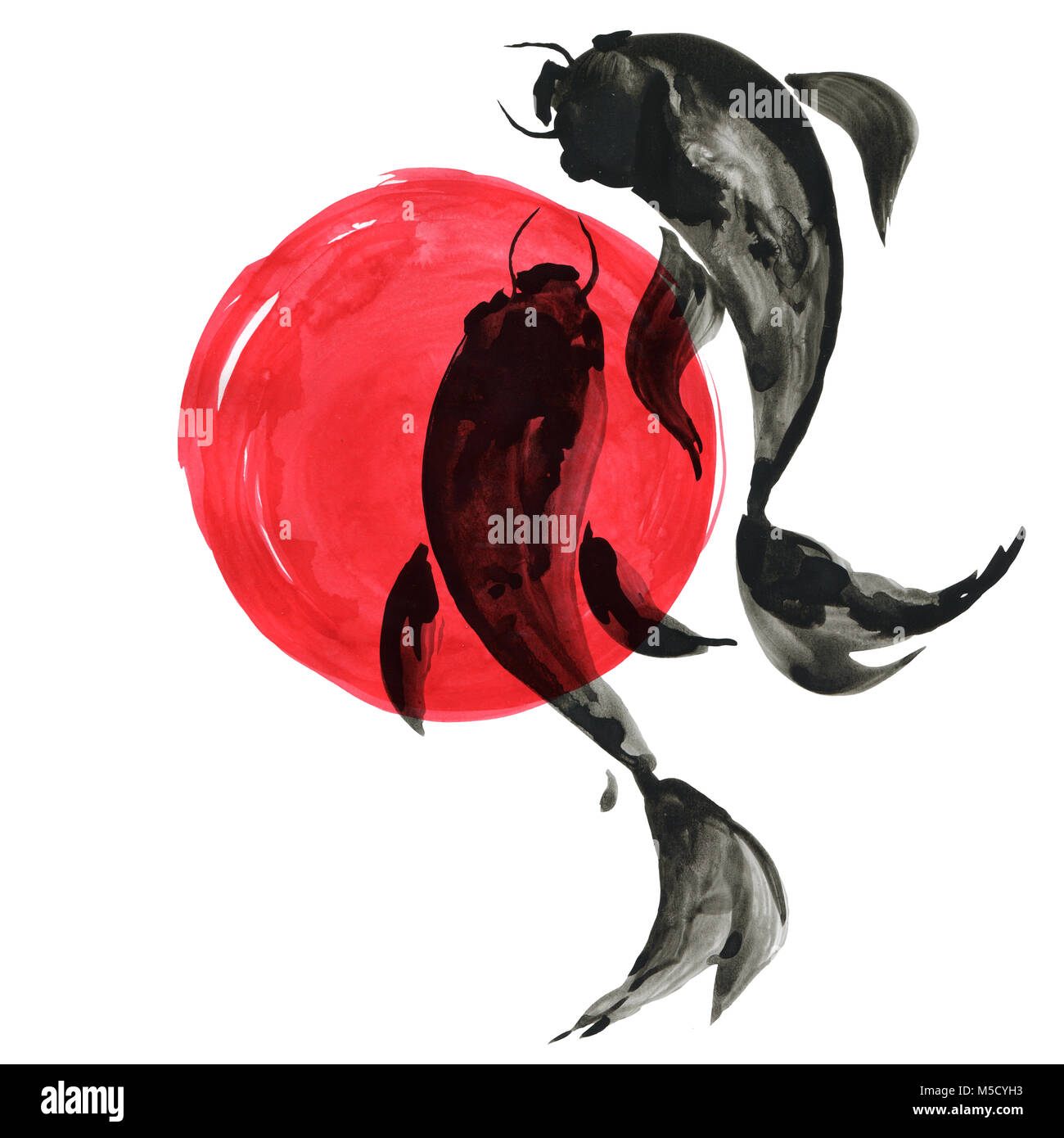 Koi fishes in Japanese style. Watercolor hand painting illustration ...