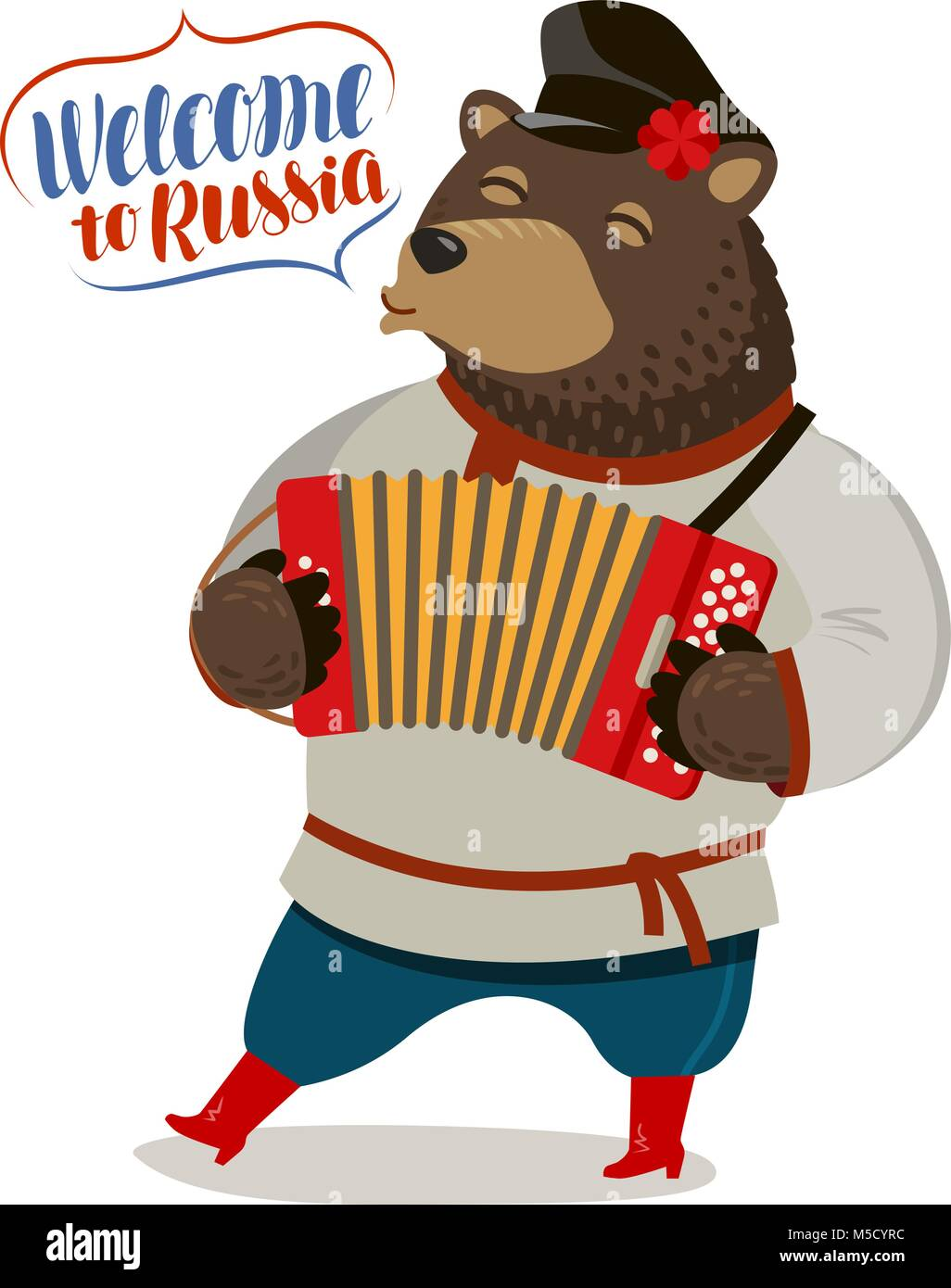 Russian fun bear playing accordion. Welcome to Russia, banner. Cartoon vector illustration - Stock Vector