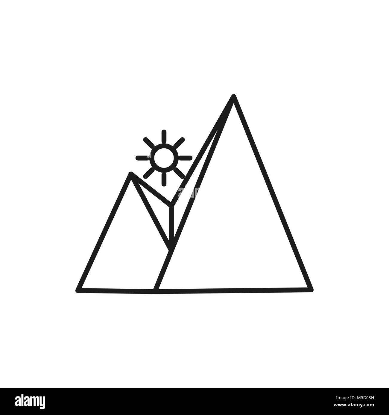 Sun Rise Mountain Thin Line Icon Symbol Vector Illustration Graphic Design - Stock Vector