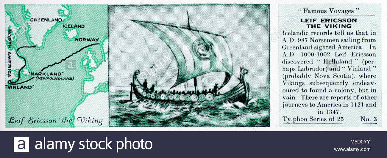 Famous Voyages - Leif Ericsson the Viking discovers Helluland and Vinland 1000 -1002 - Stock Image