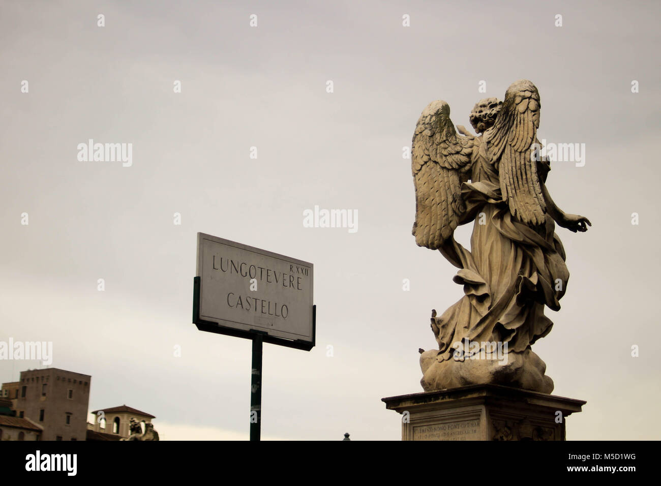 Lungotevere Castello Angel statue, in the Vatican City Rome Italy - Stock Image