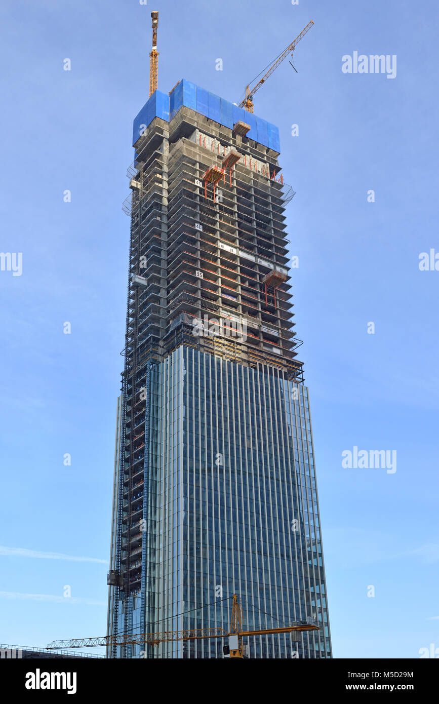 Moscow International Business Center. Construction of new skyscraper - Stock Image