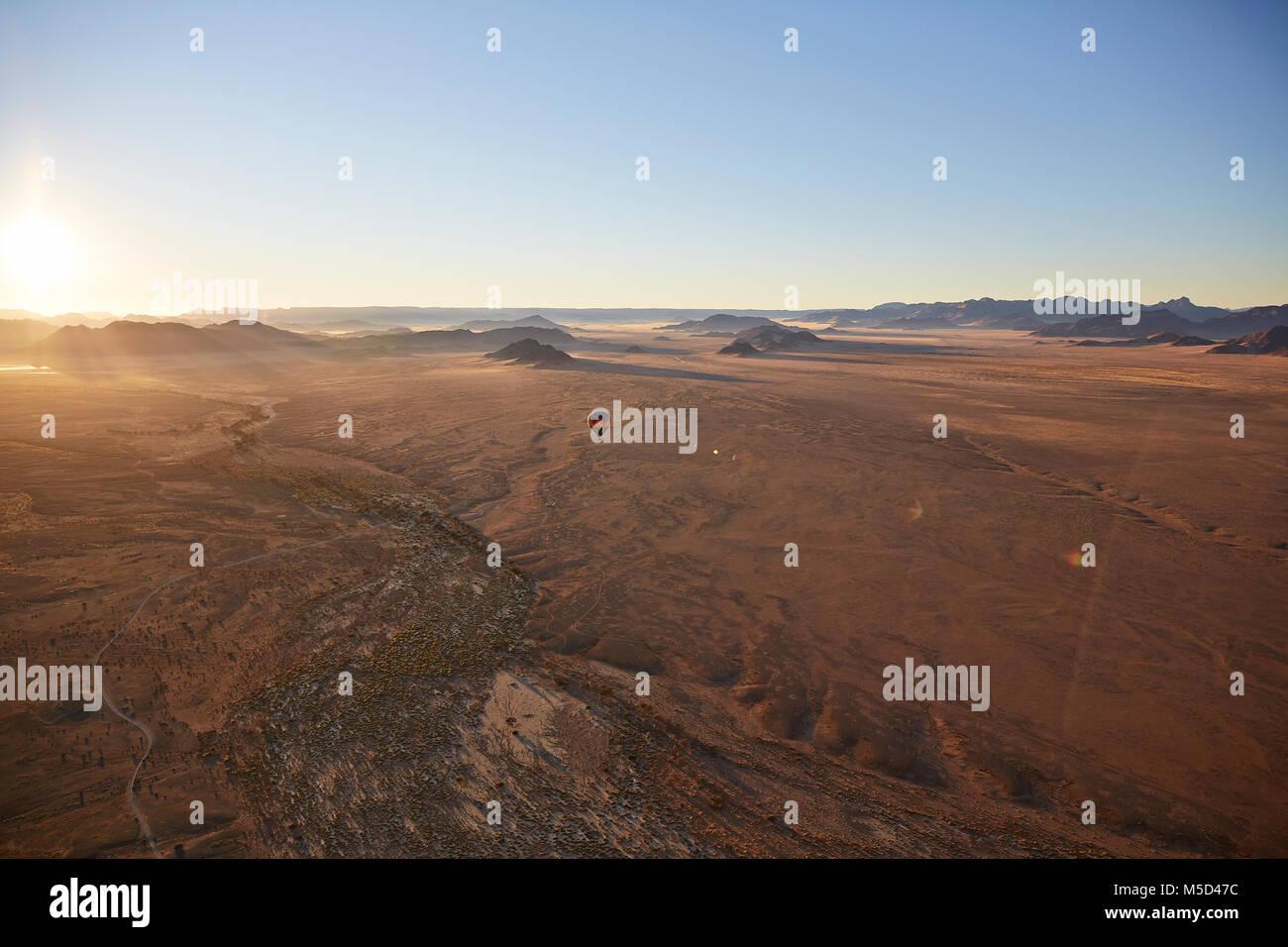 Aerial photo, view from hot air balloon, Tsaris mountains, Kulala Wilderness Reserve, Namib Desert, Hardap Region, - Stock Image