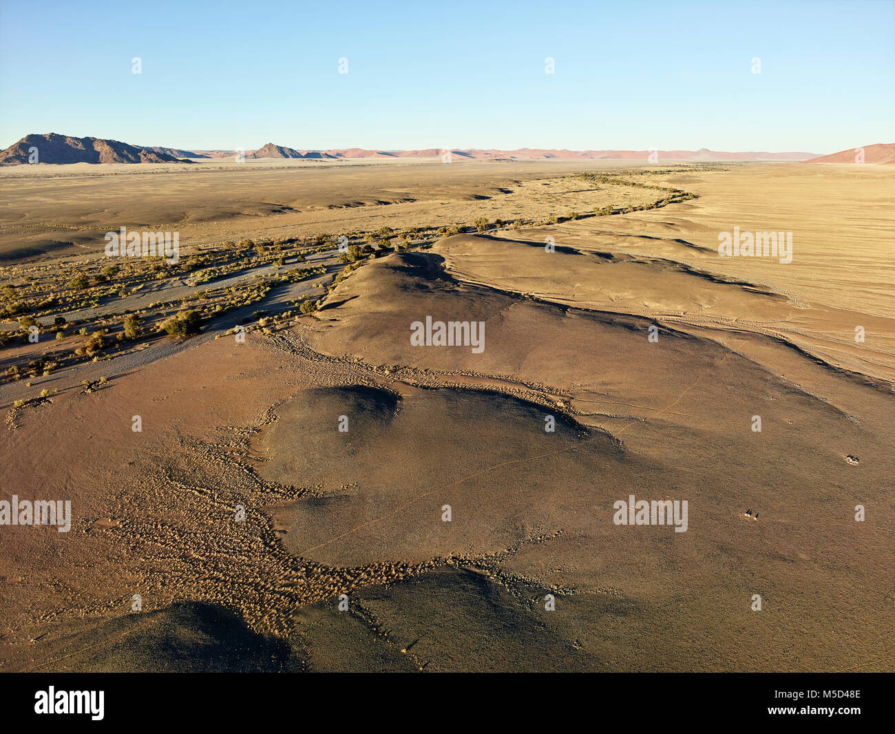 Aerial photo, view from hot air balloon, Tsaris mountains, Kulala Wilderness Reserve, Namib Desert, Hardap Region, Stock Photo