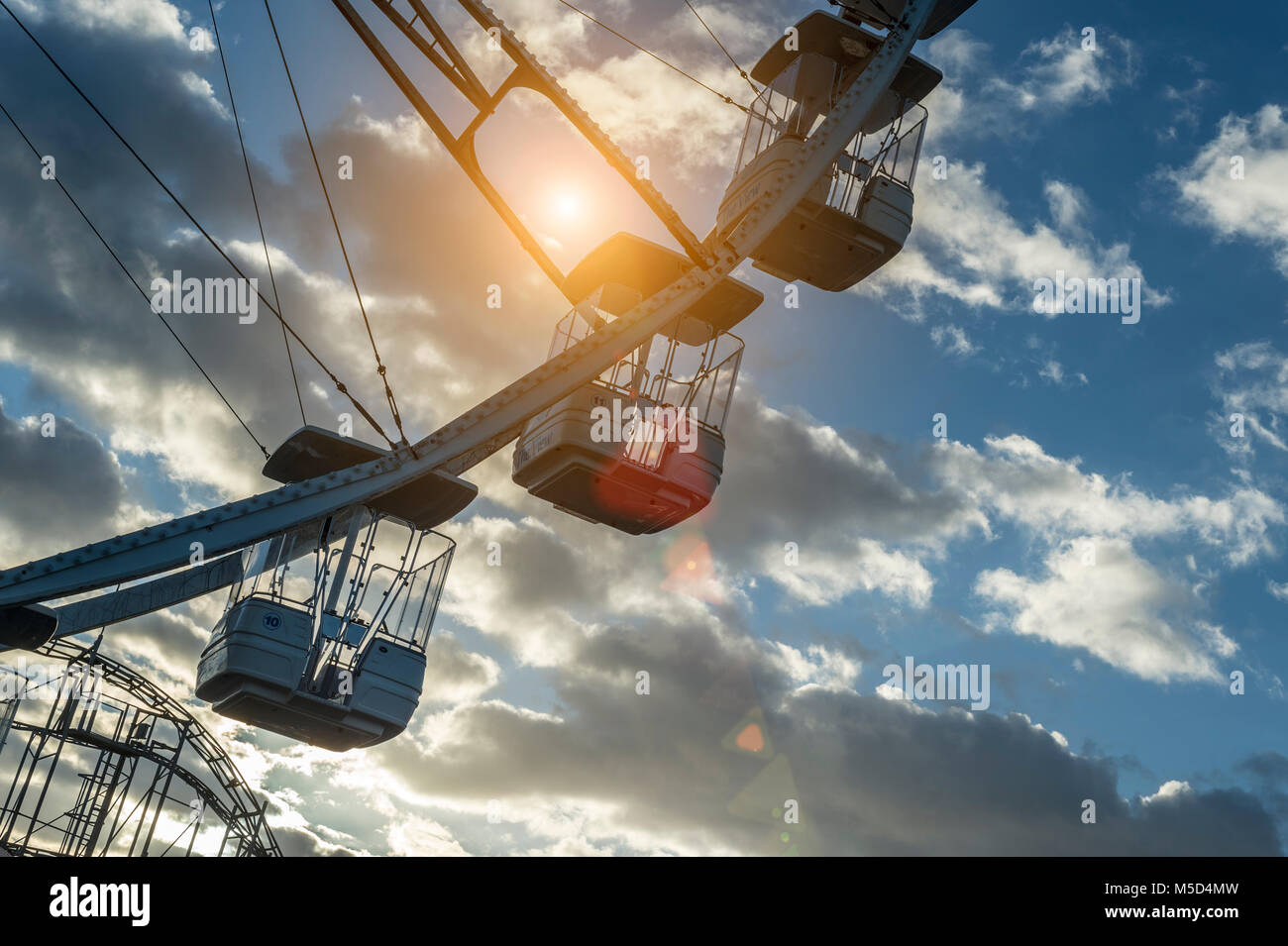 Large ferris wheel amusement park ride at Portsmouth waterfront - Stock Image