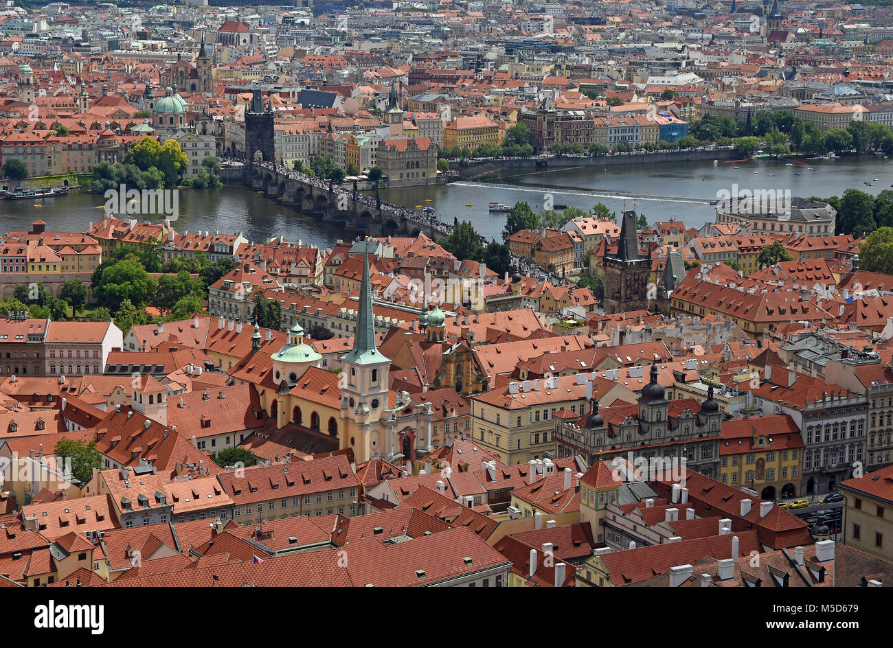 View from St. Vitus Cathedral to the Old Town with Vltava, Prague, Bohemia, Czech Republic - Stock Image