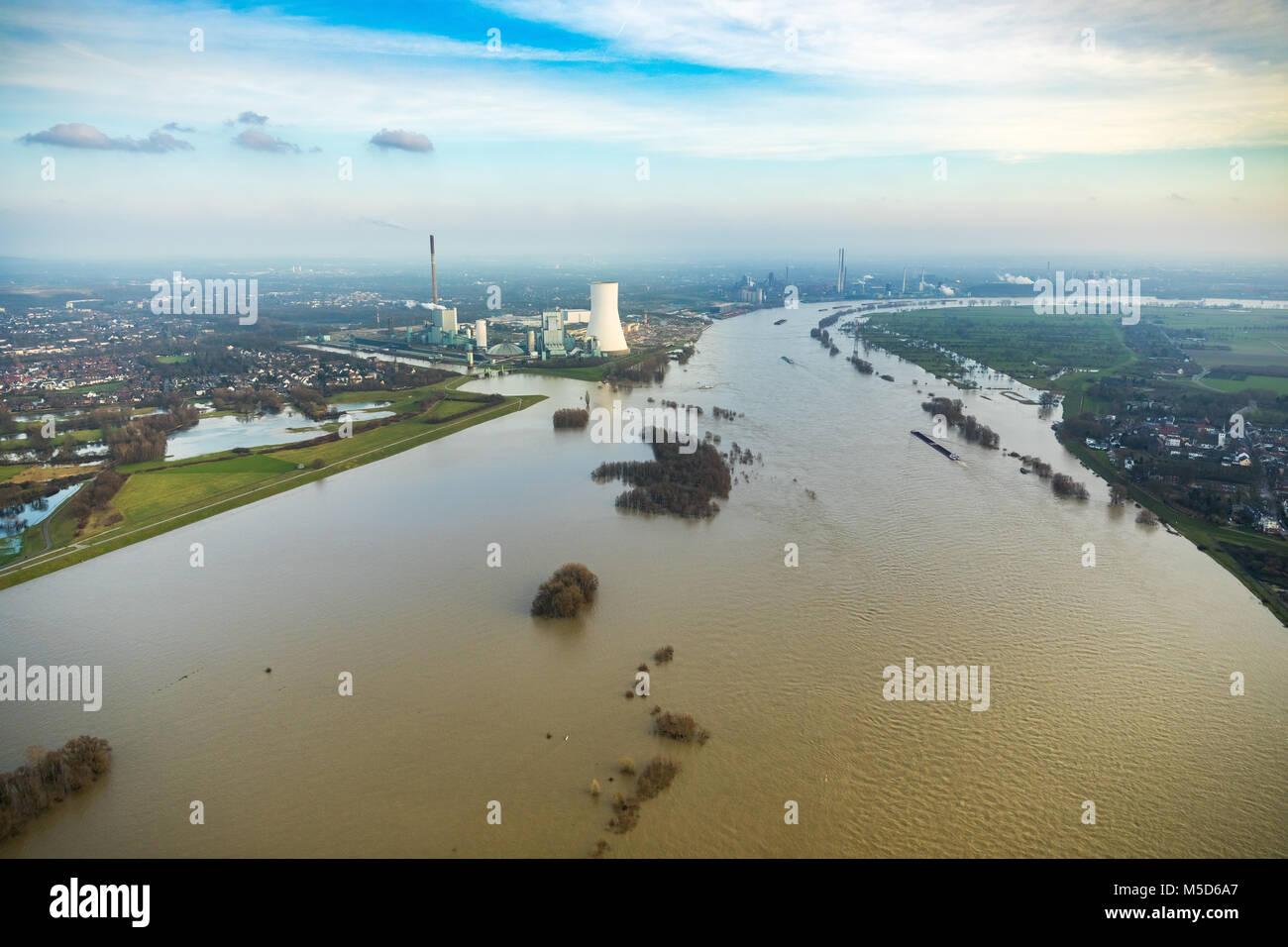 Flood on Rhine with Walsum power plant, near Duisburg, Ruhr Area, North Rhine-Westphalia, Germany Stock Photo