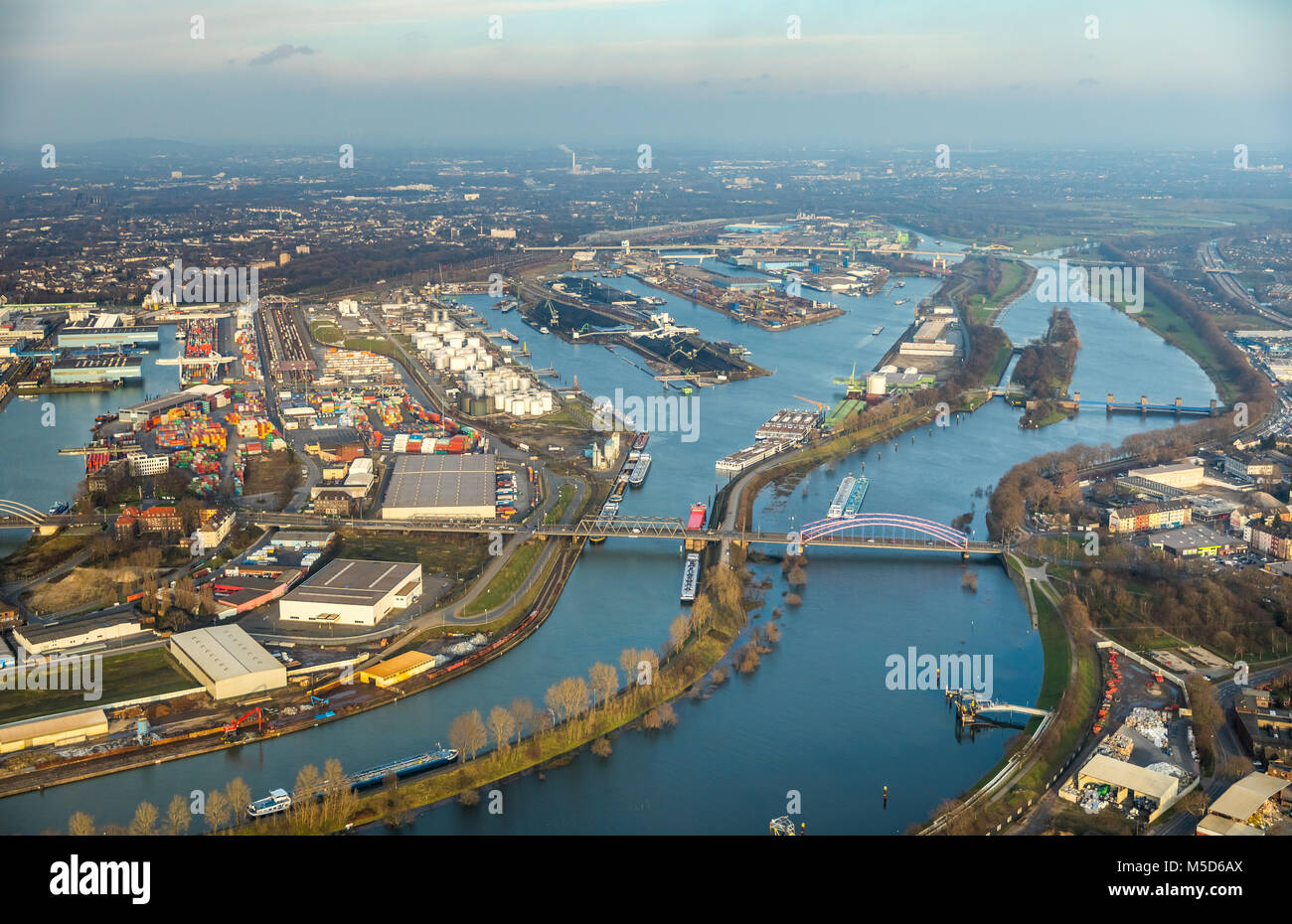 Flood on the Rhine, view of Duisburg inland harbour, Duisburg, Ruhr area, North Rhine-Westphalia, Germany - Stock Image