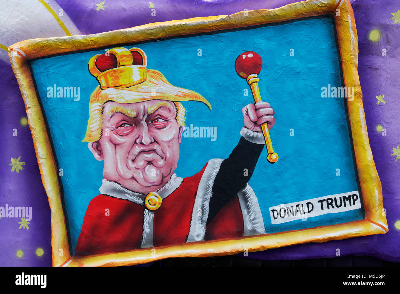 US President Donald Trump as king with scepter in a picture frame, political caricature, motto caravan, motto caravan - Stock Image