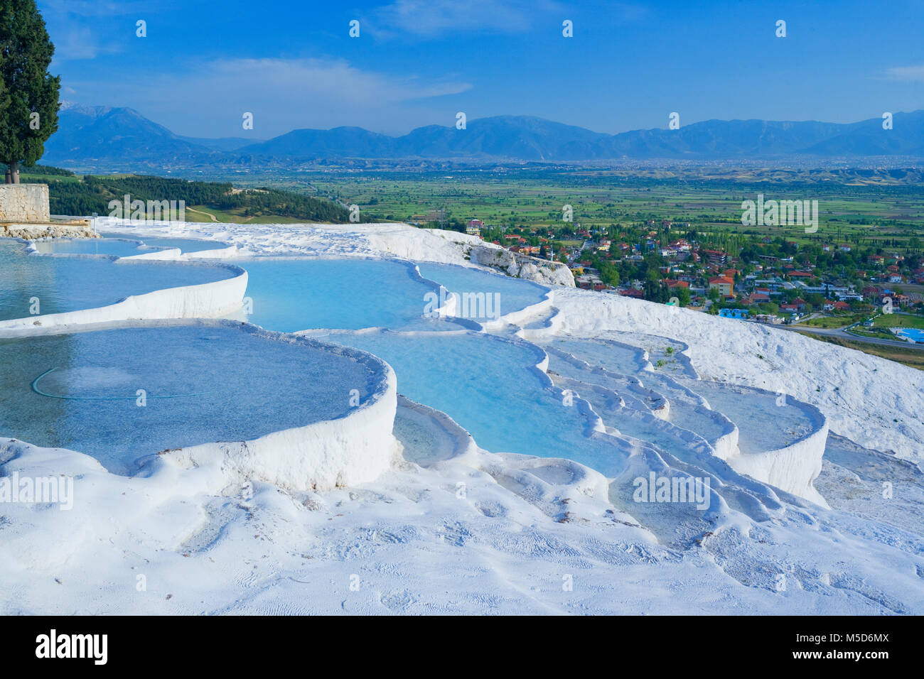 Terraced travertine thermal pools, Pamukkale, Anatolia, Turkey - Stock Image