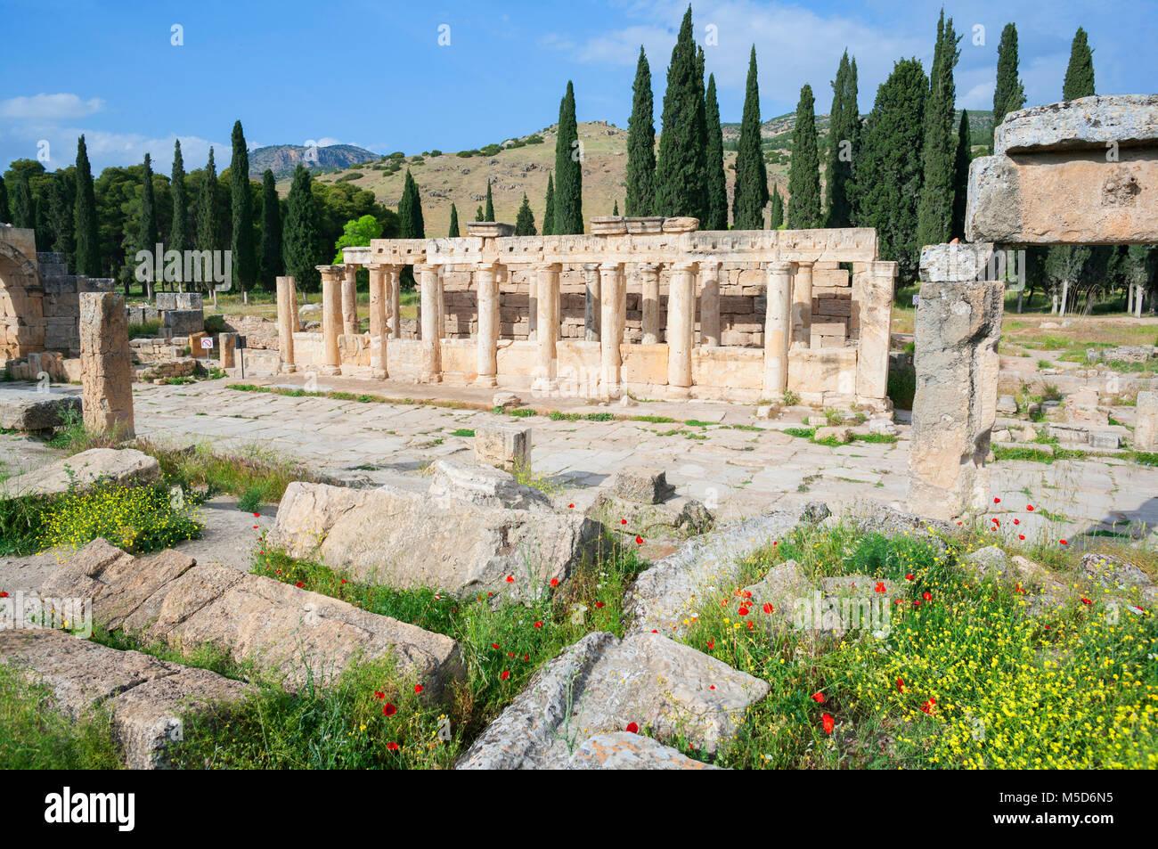 Ancient Roman necropolis ruins, Hierapolis, Pamukkale, Denizli, Anatolia, Turkey - Stock Image